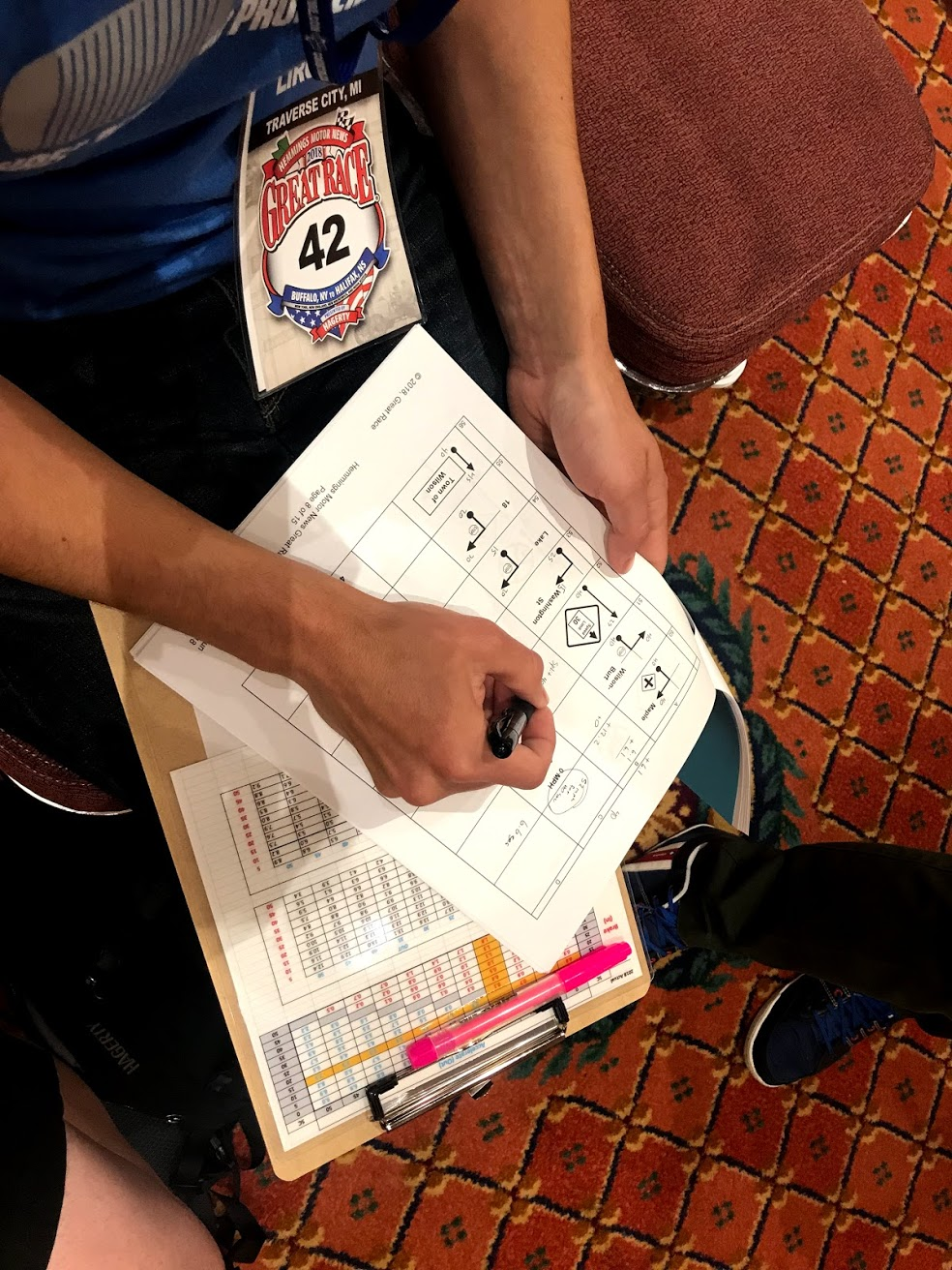 Brett marking directions prior to Trophy Run