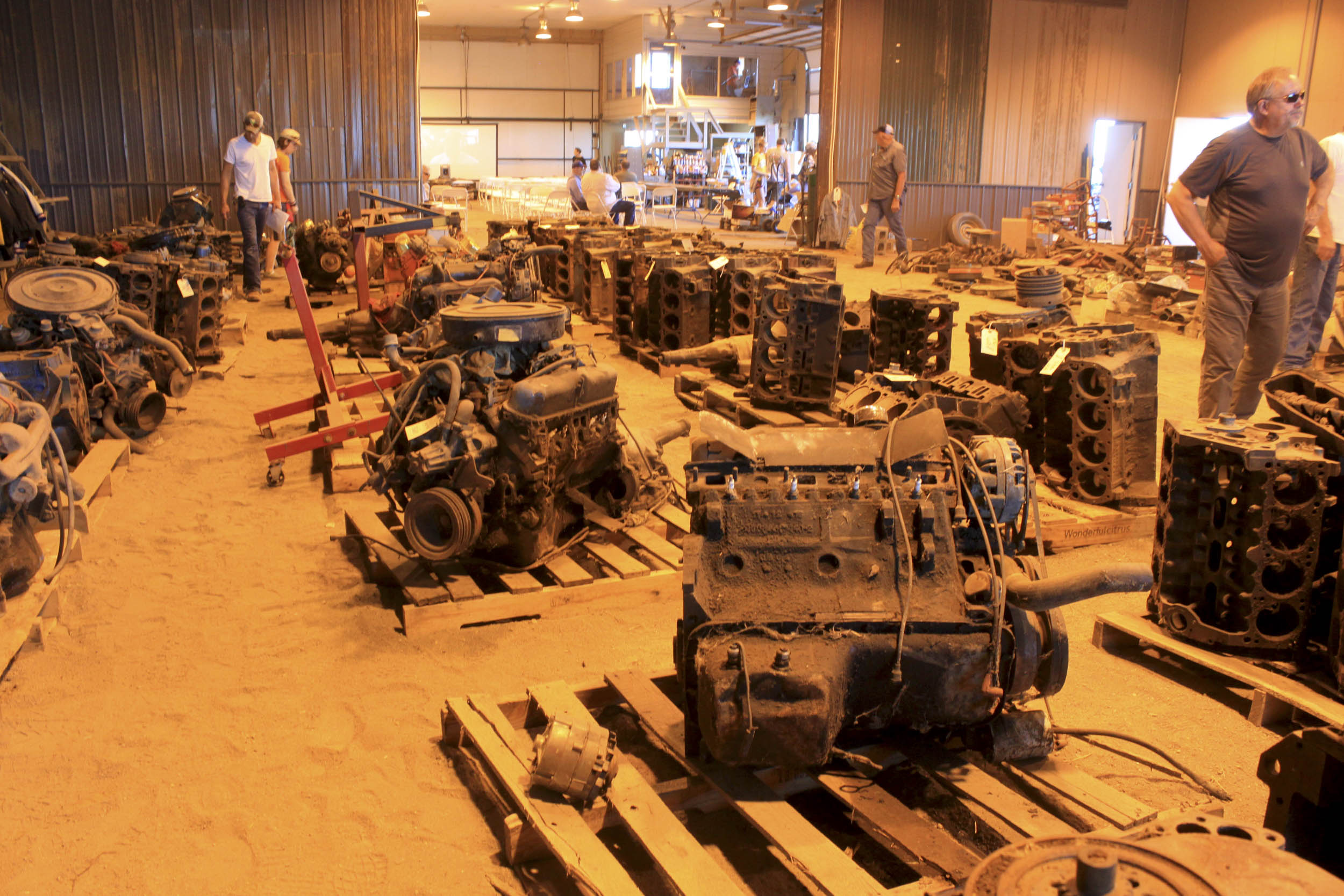 engines inside the shop