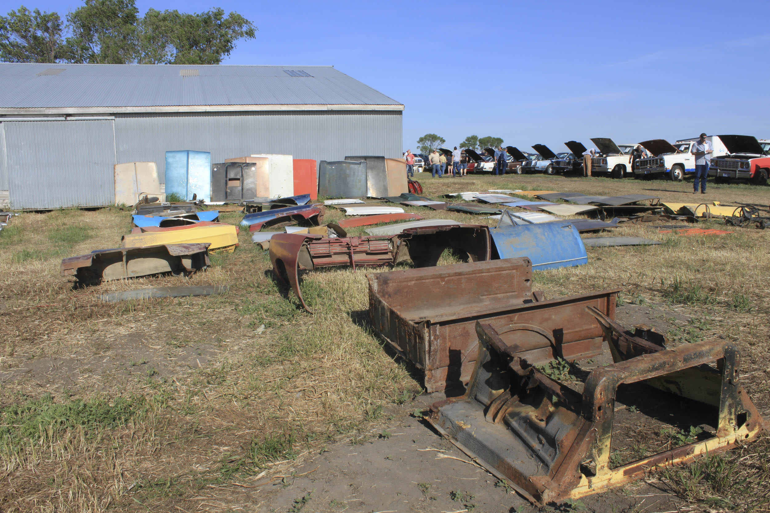 car hoods and other parts at the mopar auction