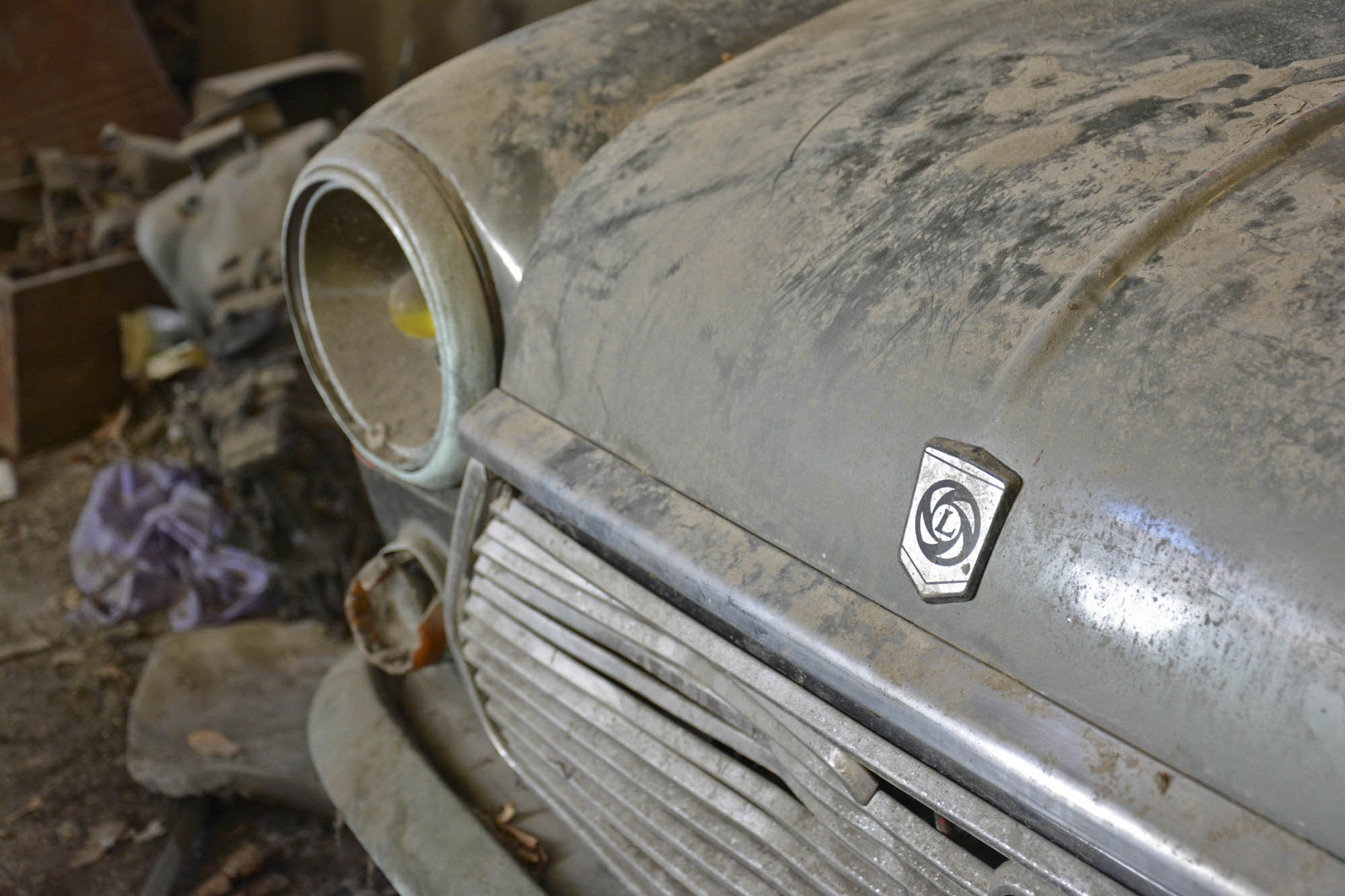 close-up on car in old citroen parts store
