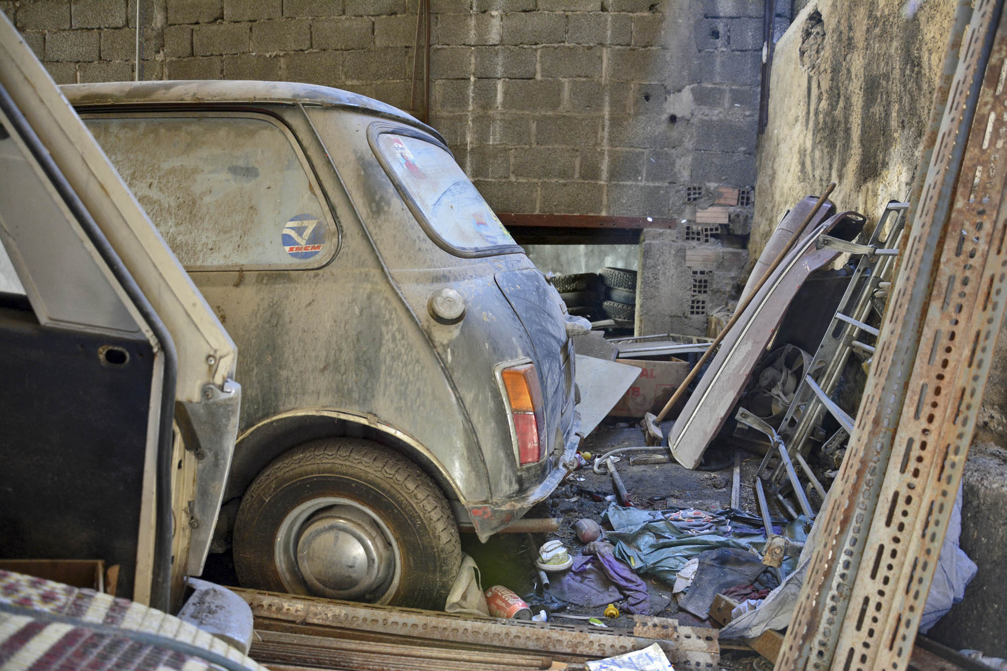 back of car in old citroen parts store