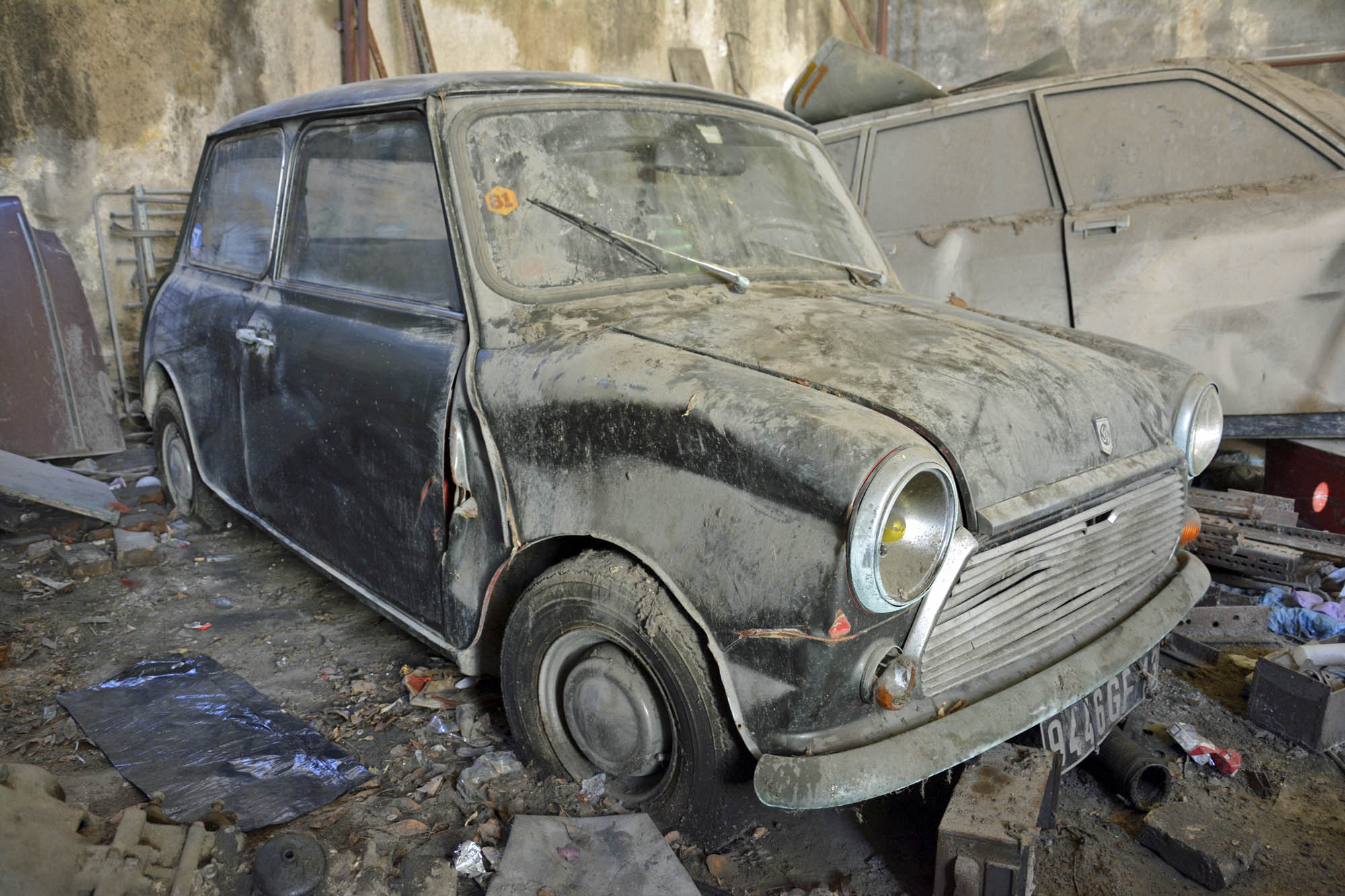 1972 Mini in old parts store