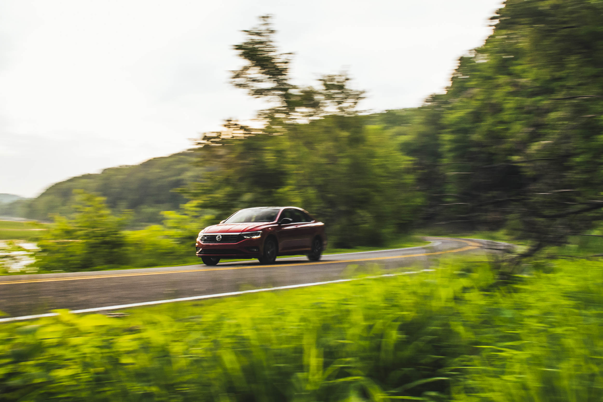 volkswagen jetta r-line driving alone on road