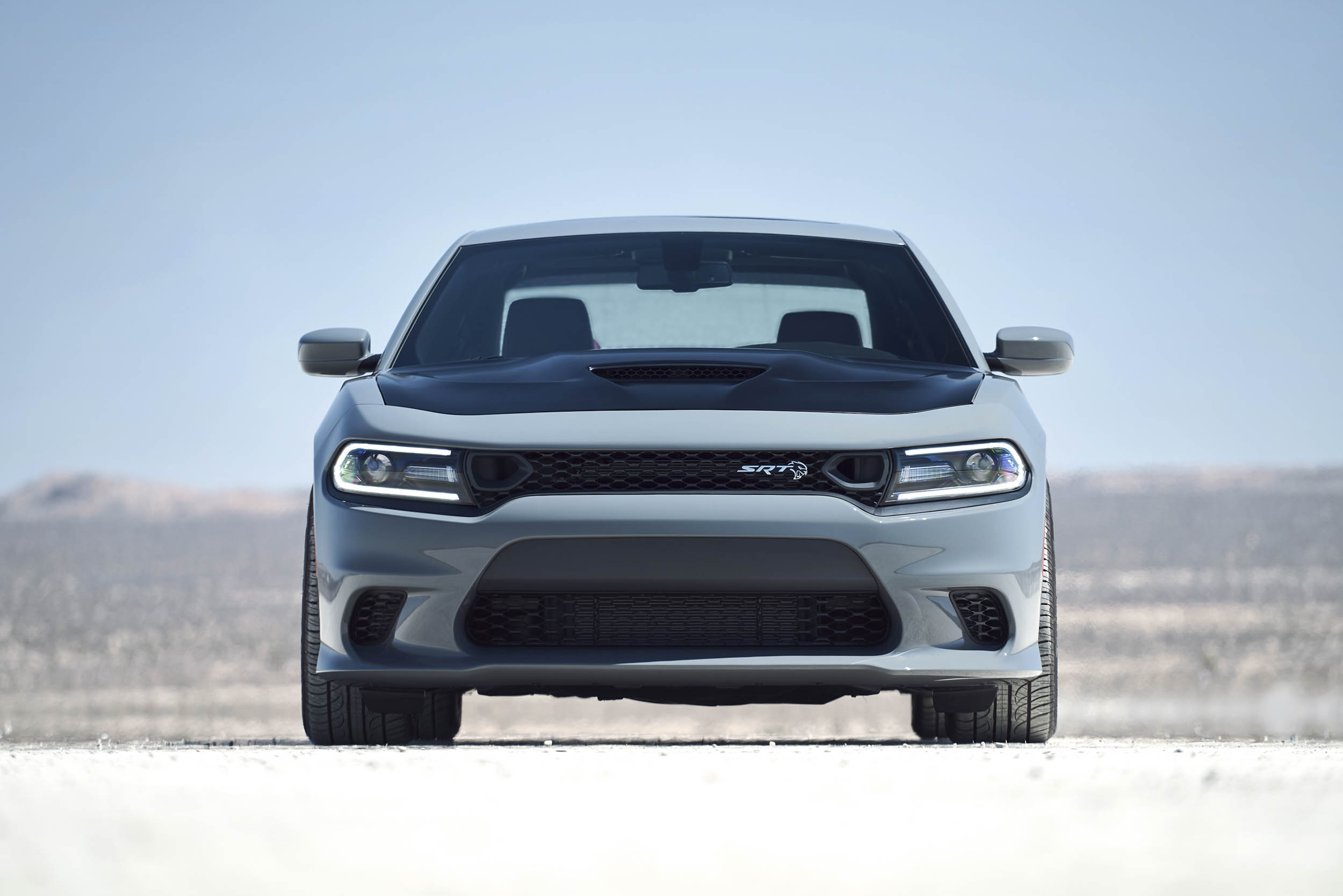 2019 Dodge Charger SRT Hellcat featuring new performance grille with dual air inlets and newly available Satin Black painted hood