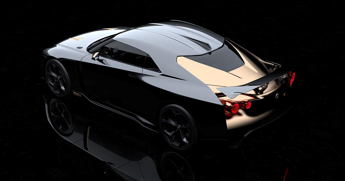 nissan gtr50 italdesign gold rear roof
