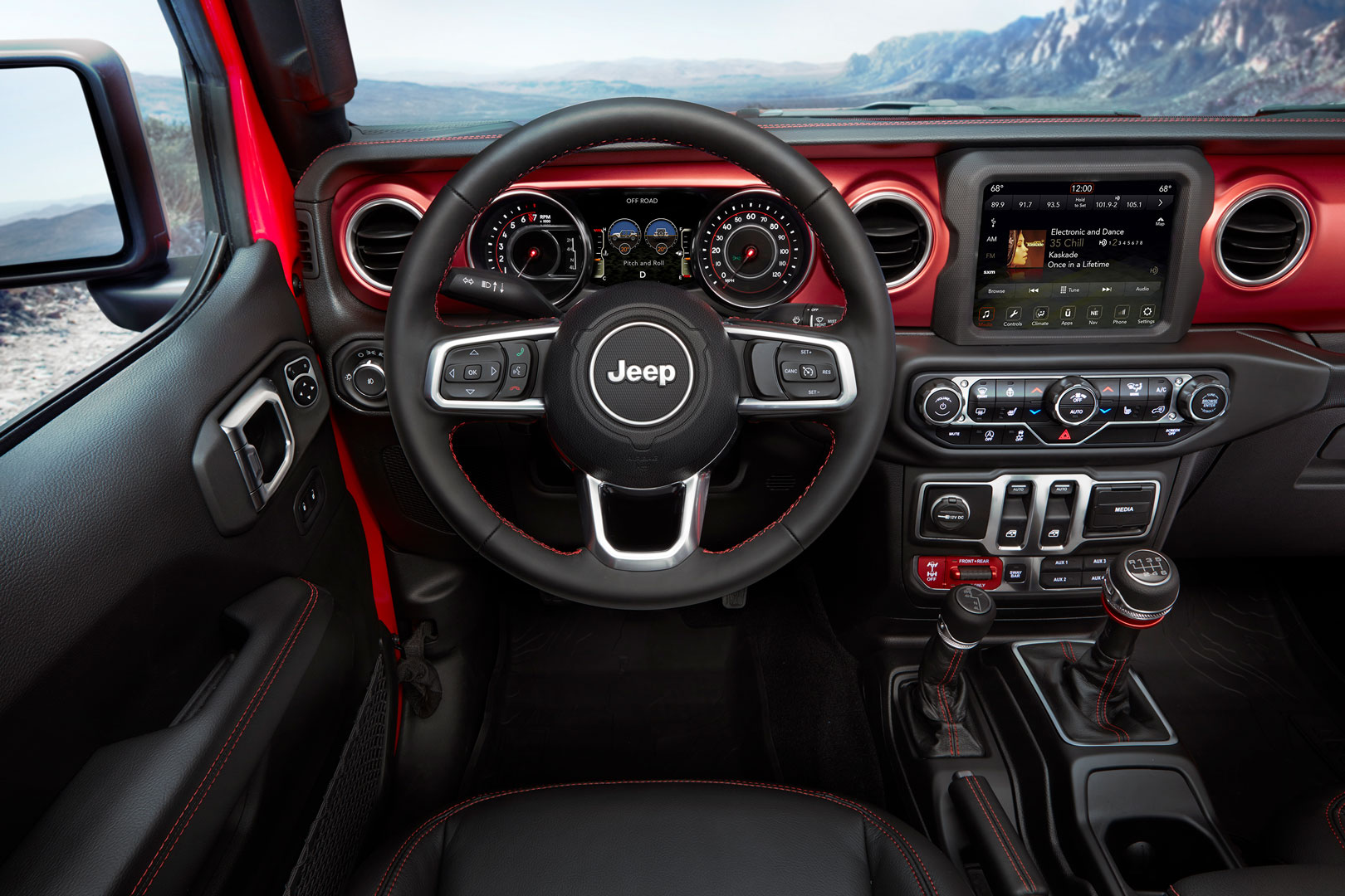 The new Wrangler's exterior dimensions have grown, but interior space is relatively unchanged. What has changed, however, are the LED instruments and touch screens.