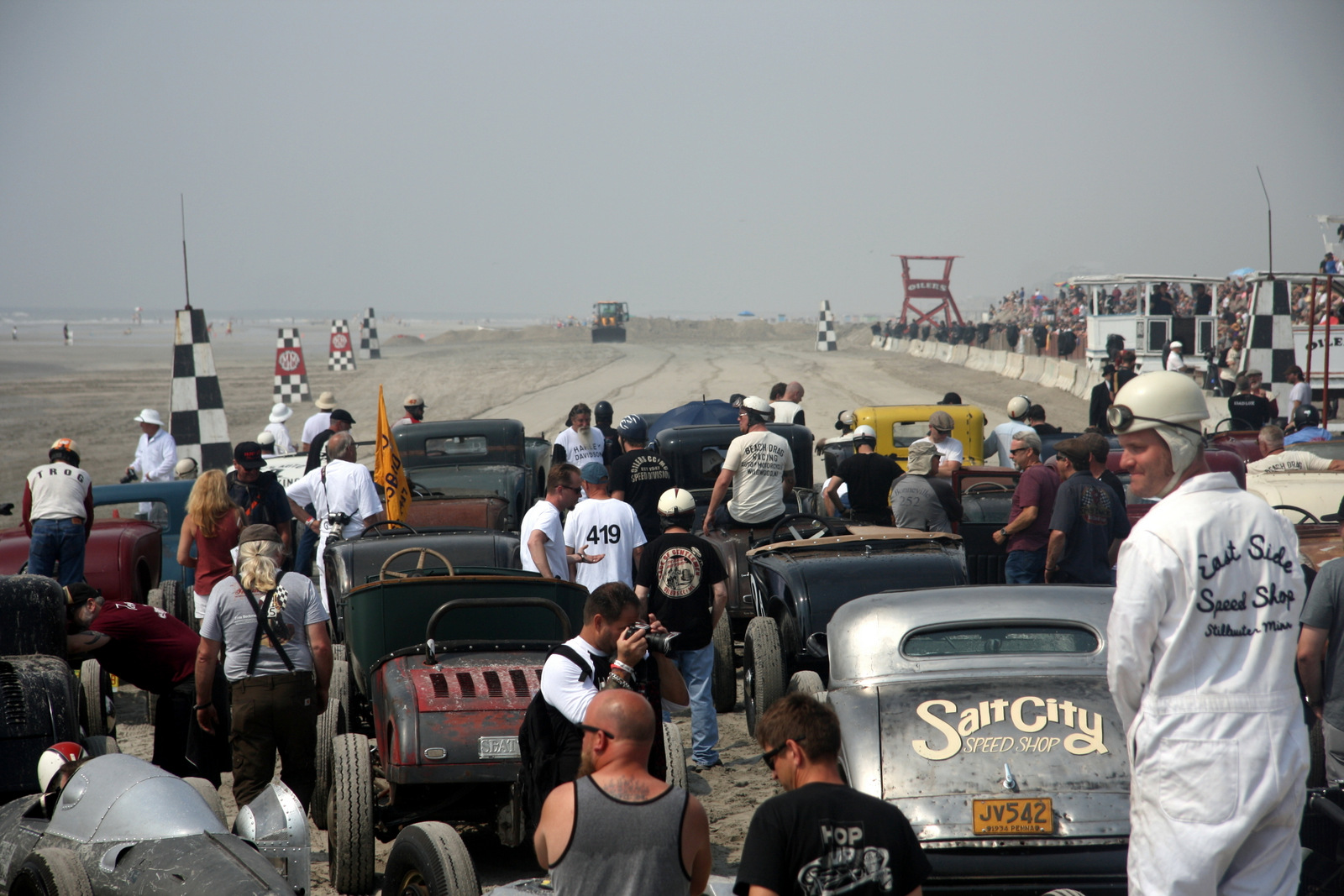 The Race of Gentlemen pits vintage hot rods and motorcycles against one another in head-to-head eighth-mile drag races on the beach at Wildwood, N.J.