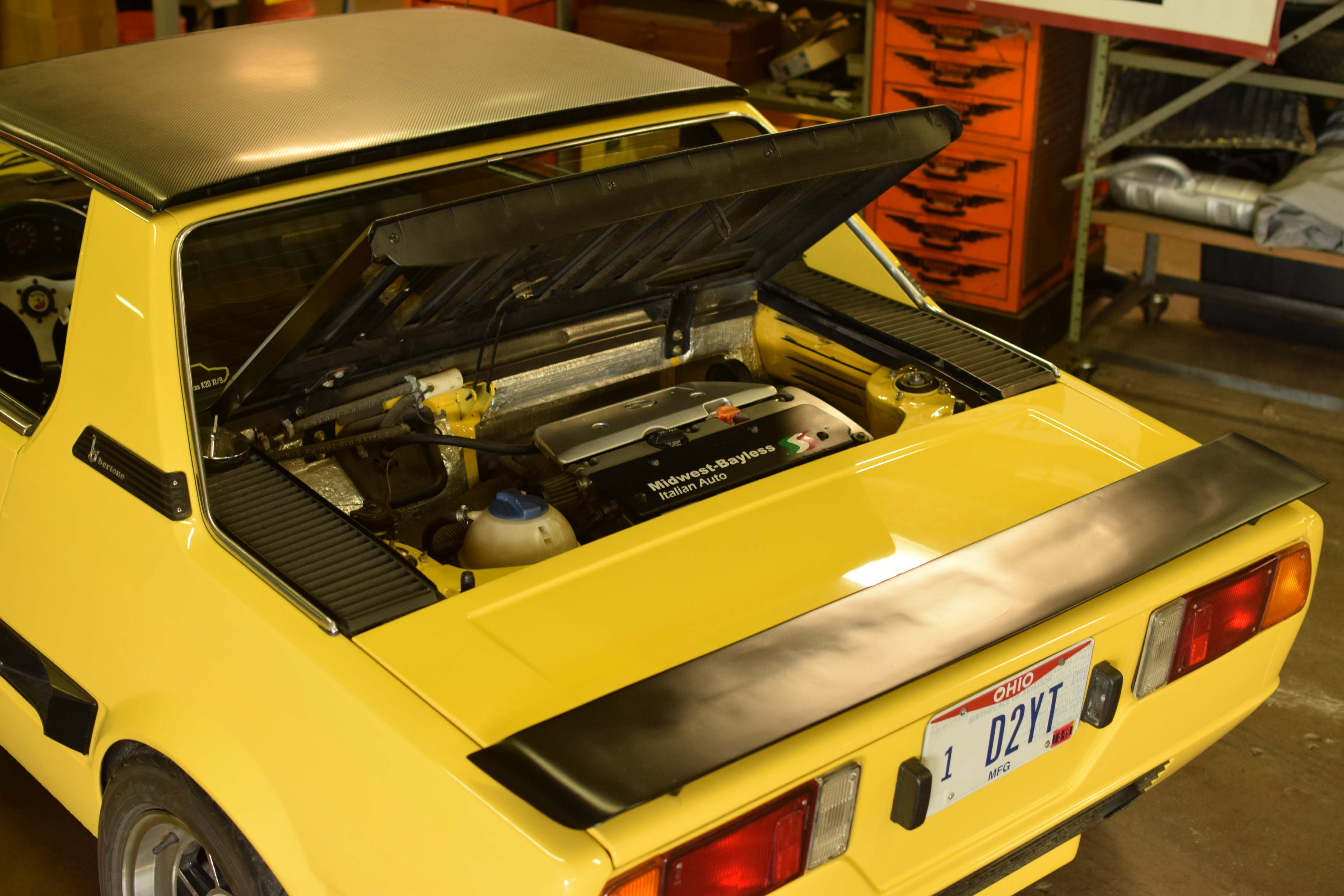 fiat x1/9 engine yellow car