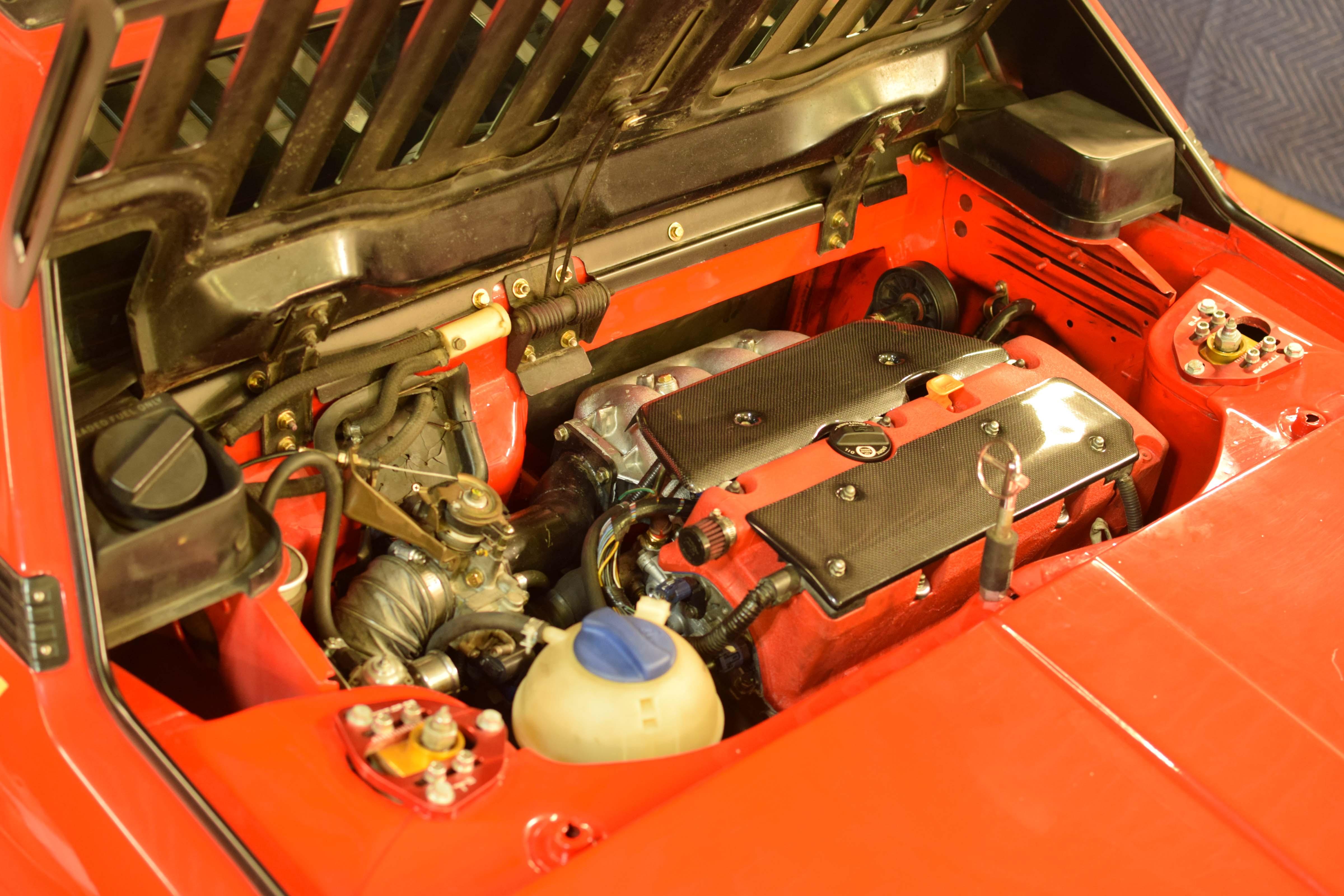 fiat x1/9 engine red car