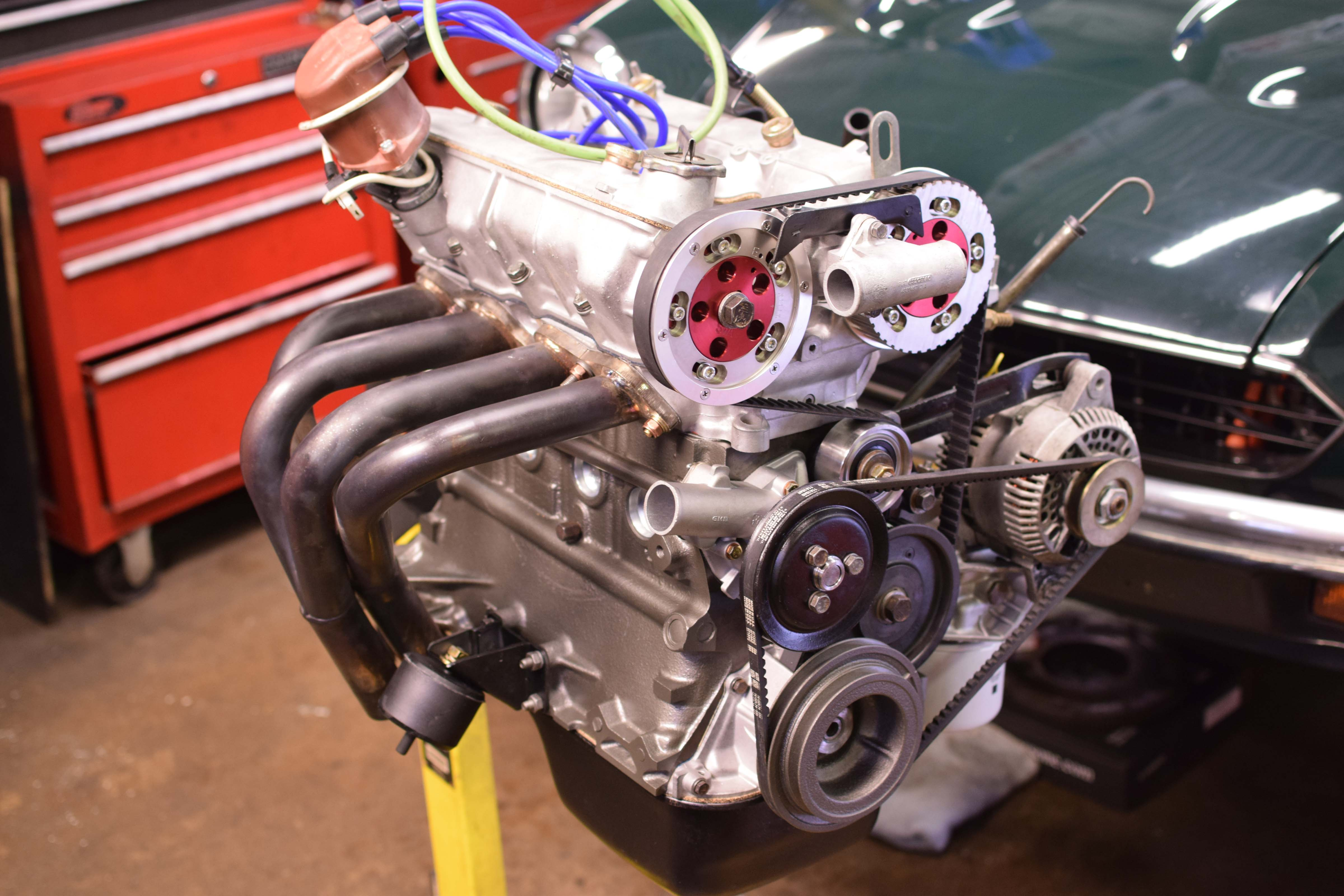 fiat x19 engine on stand headers cams