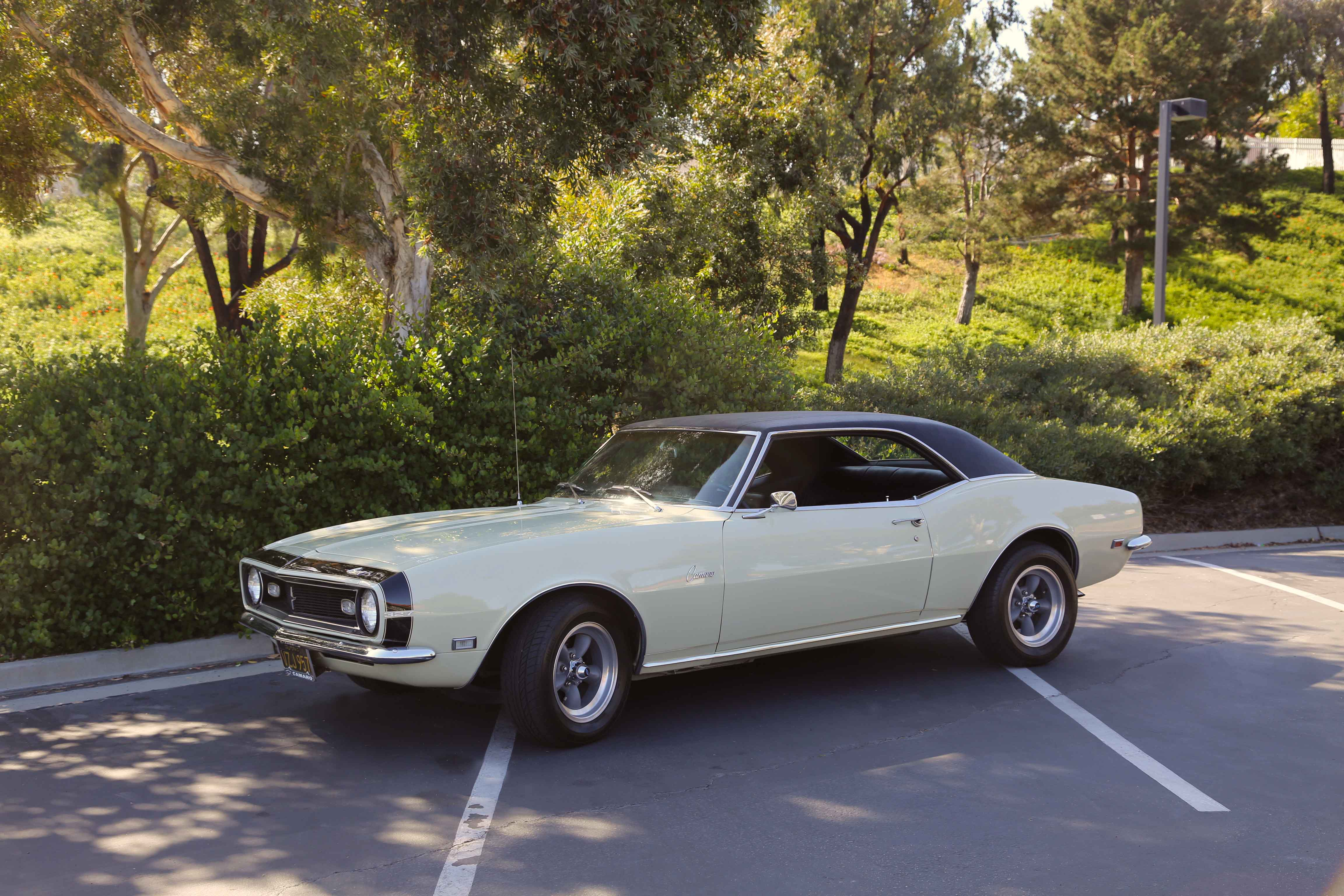 """Norm's 1968 Camaro is a base Sport Coupe with some unusual options such as the tilt wheel, bench """"Strato-Back"""" seat, and bumblebee stripe. It's a mystery why the odd assortment of extras were installed."""