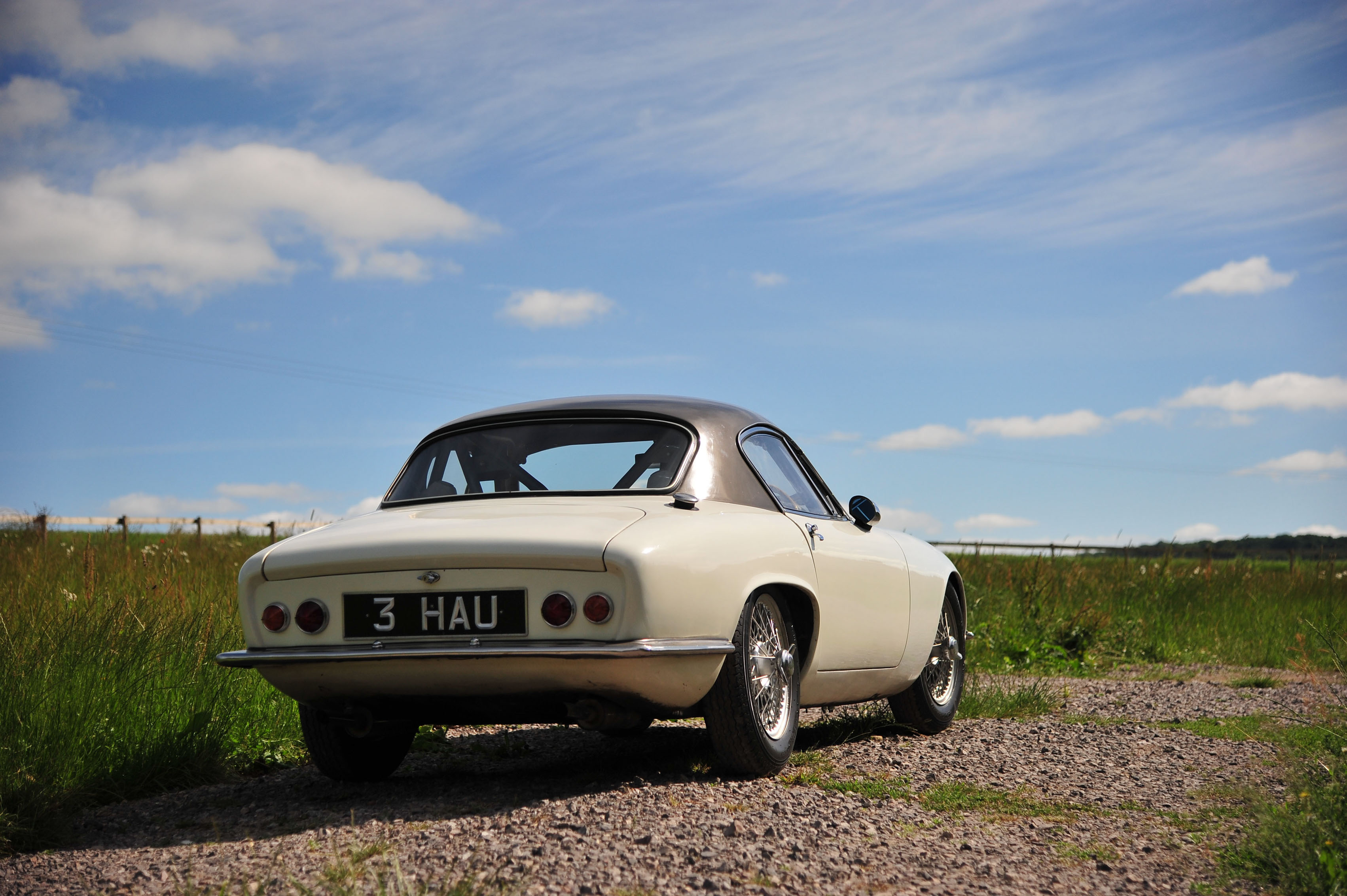 1961 Type 14 Lotus Elite rear 3/4 blue sky