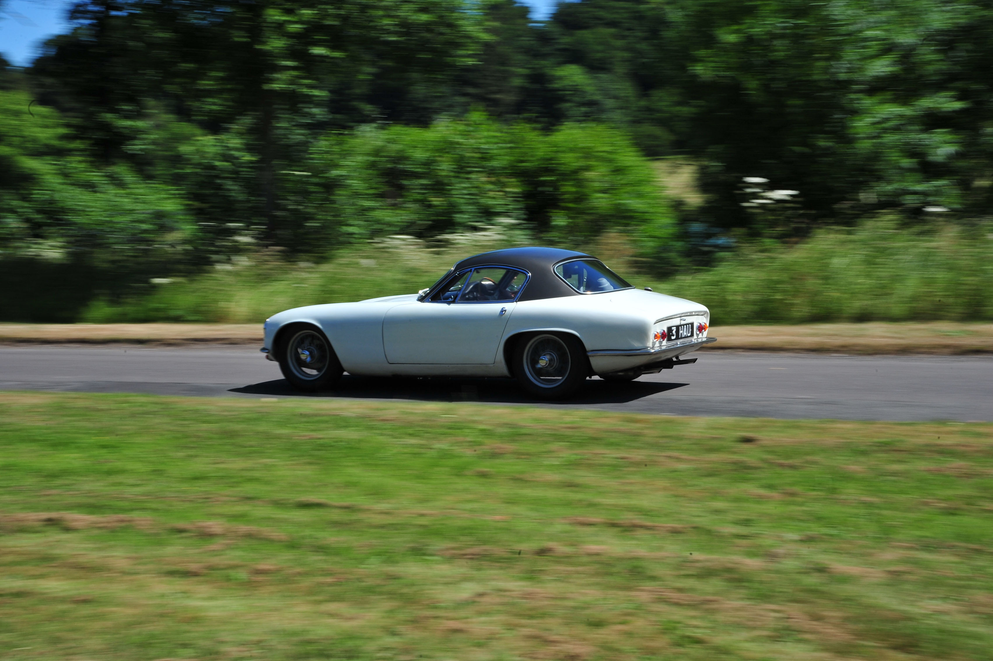 1961 Type 14 Lotus Elite Driving on twisty road