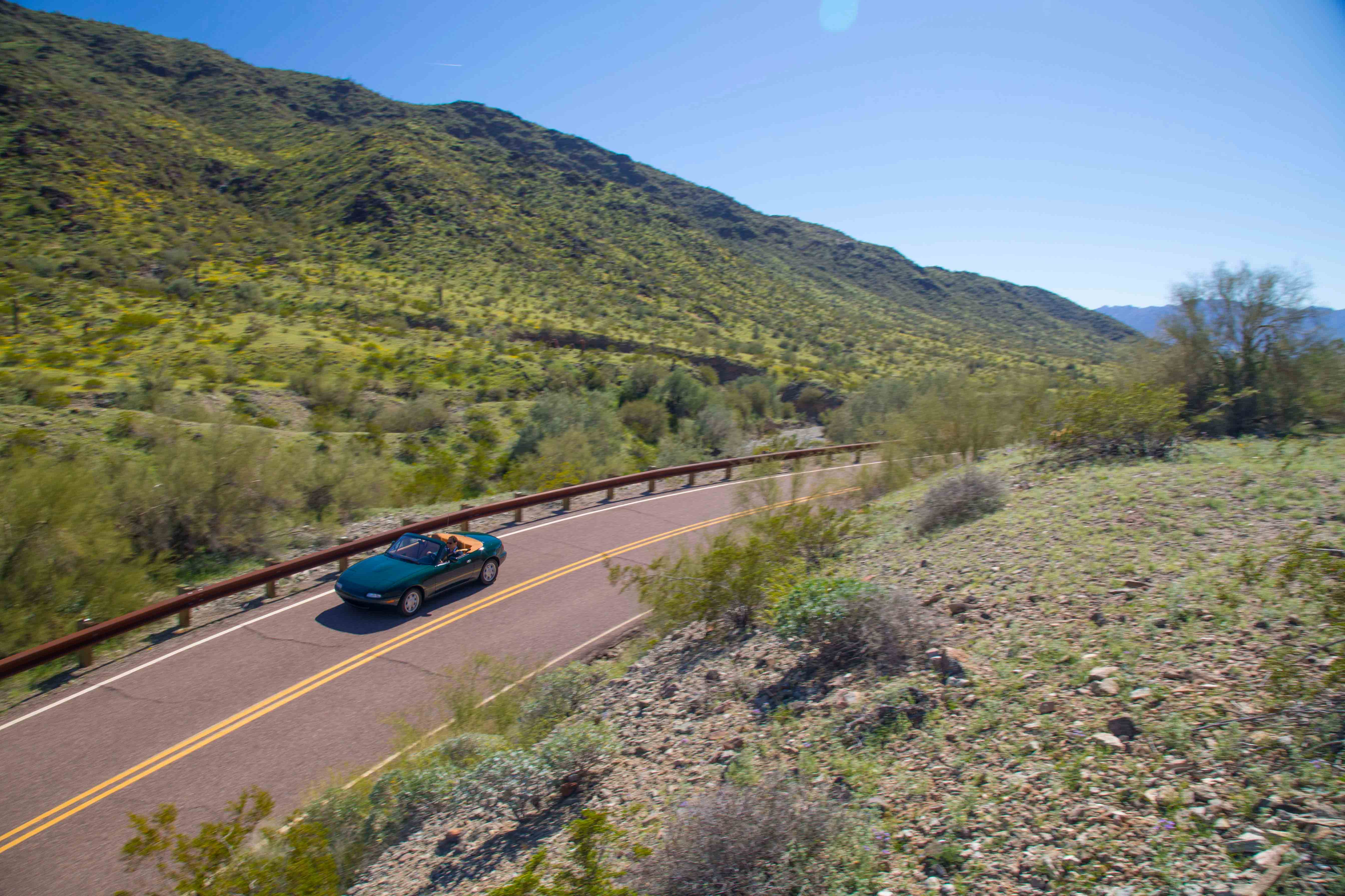 1990 Mazda MX-5 Miata green desert above