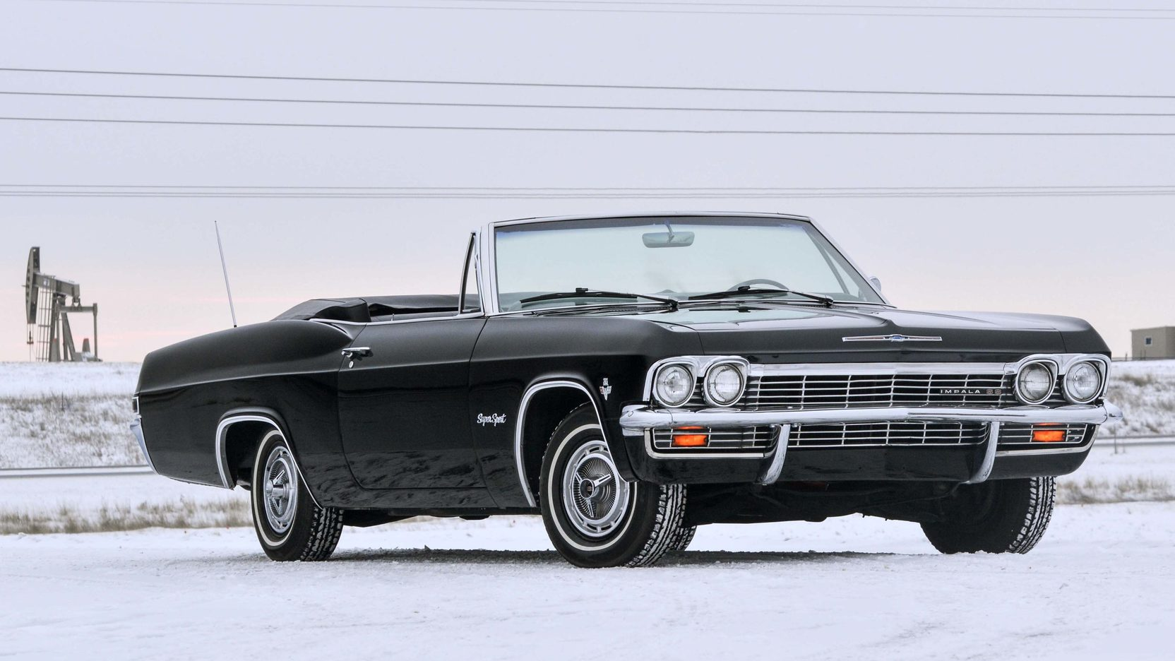 1965 Chevrolet Impala SS black snow hill front 3/4