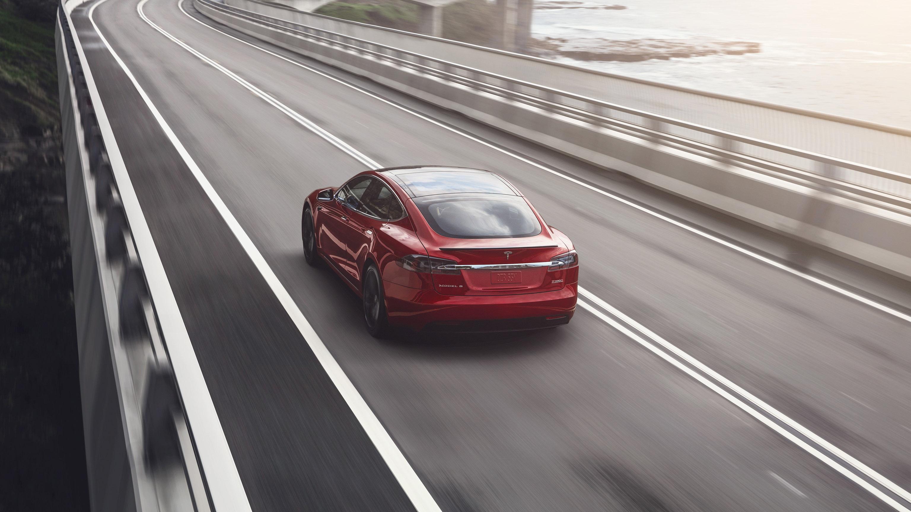 2018 Tesla Model S red bridge