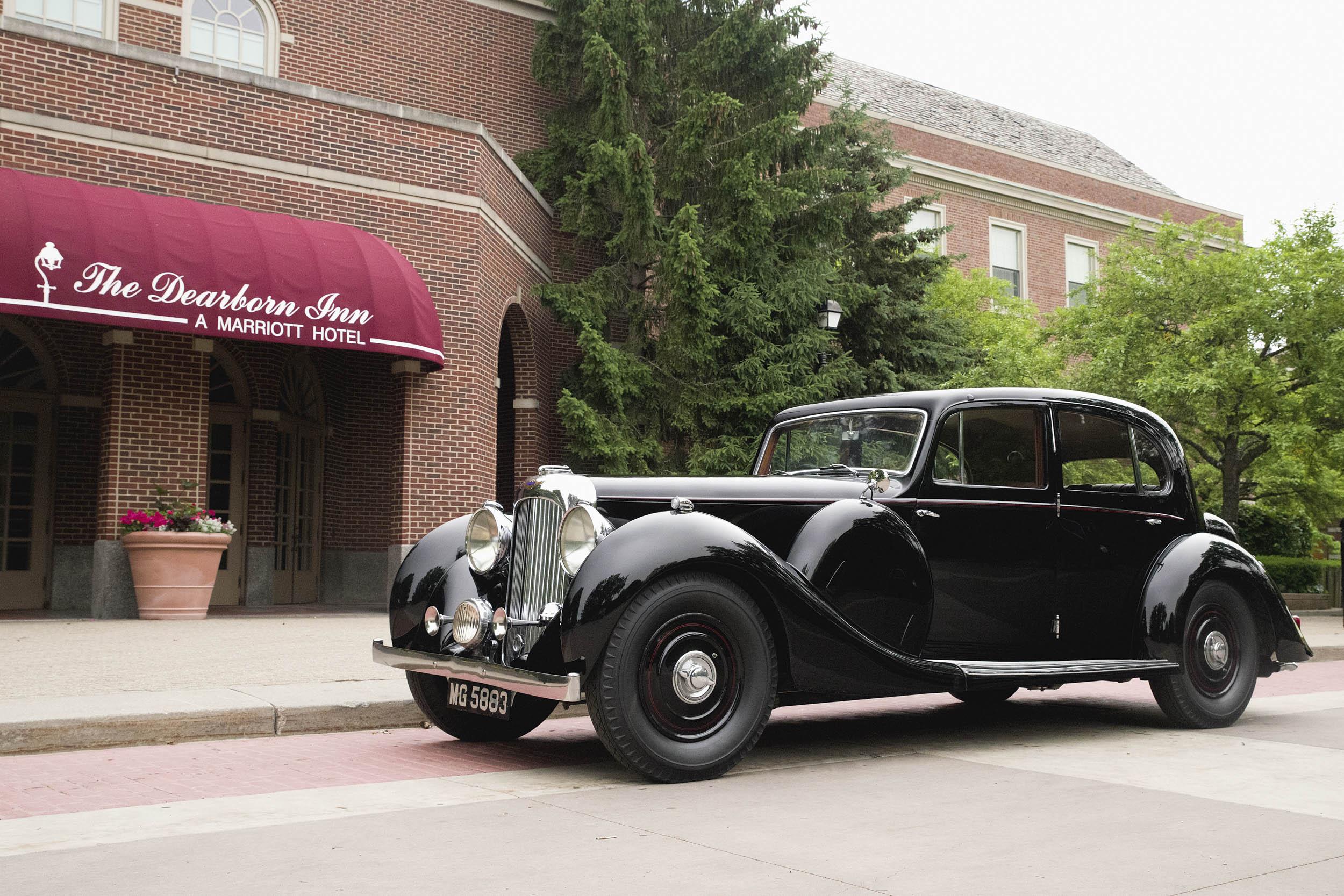The 1938 Lagonda LG6 Saloon displays the formal lines of pre-war English automobiles.