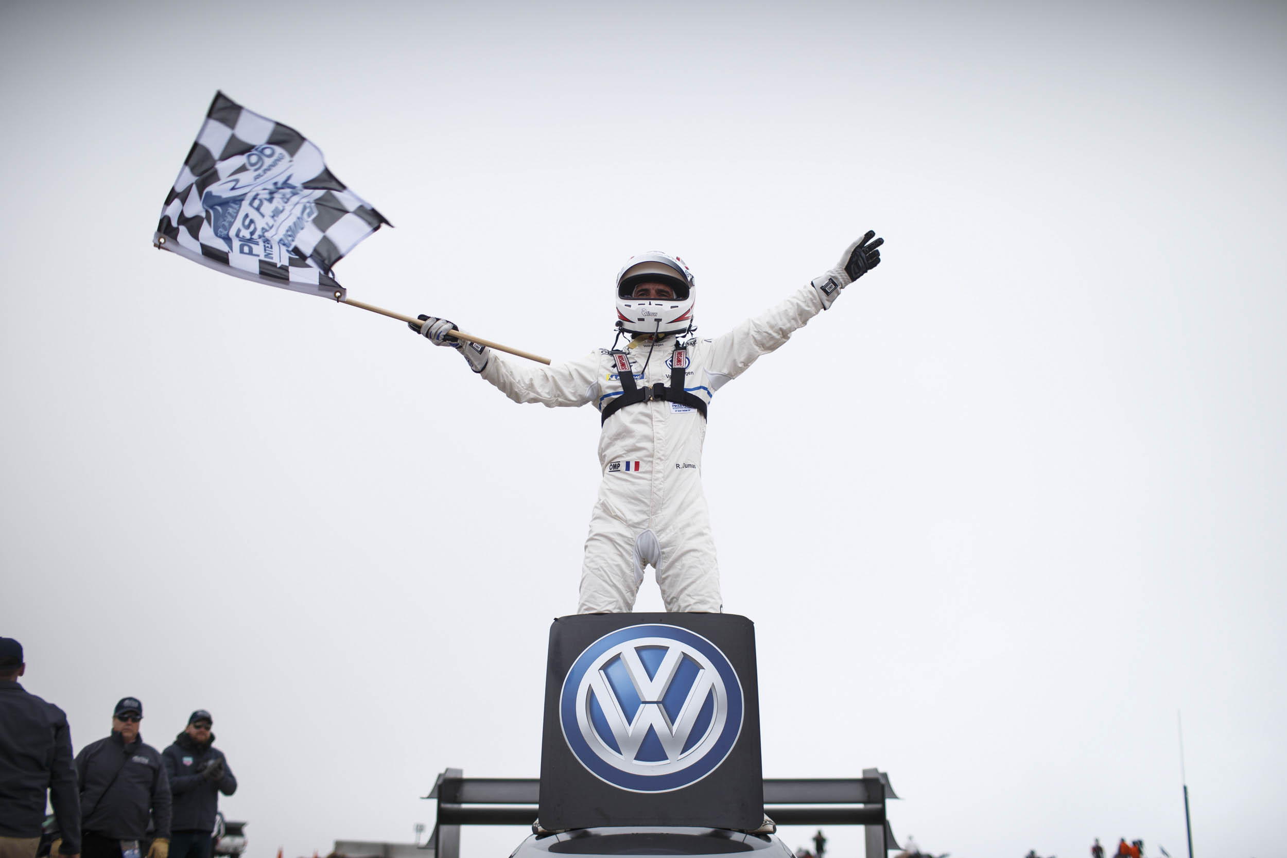 Romain Dumas as soon as he was notified that he beat Sebastien Loeb's five-year long record.