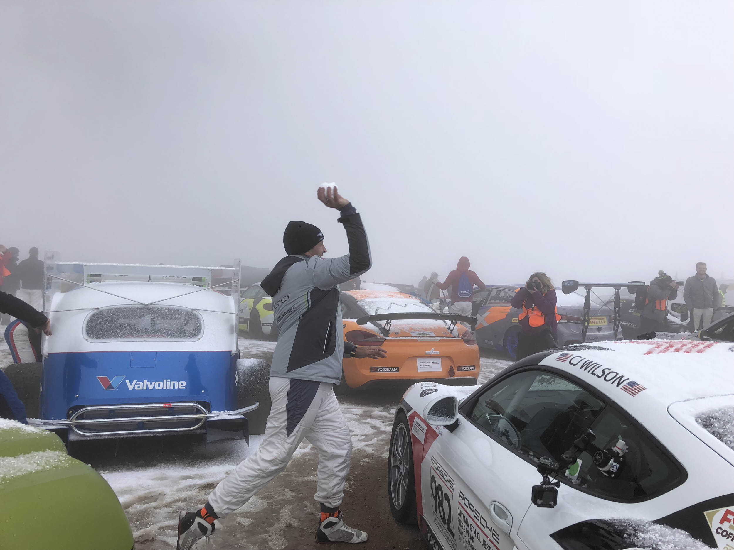 Snow ball fight on top of Pikes Peak