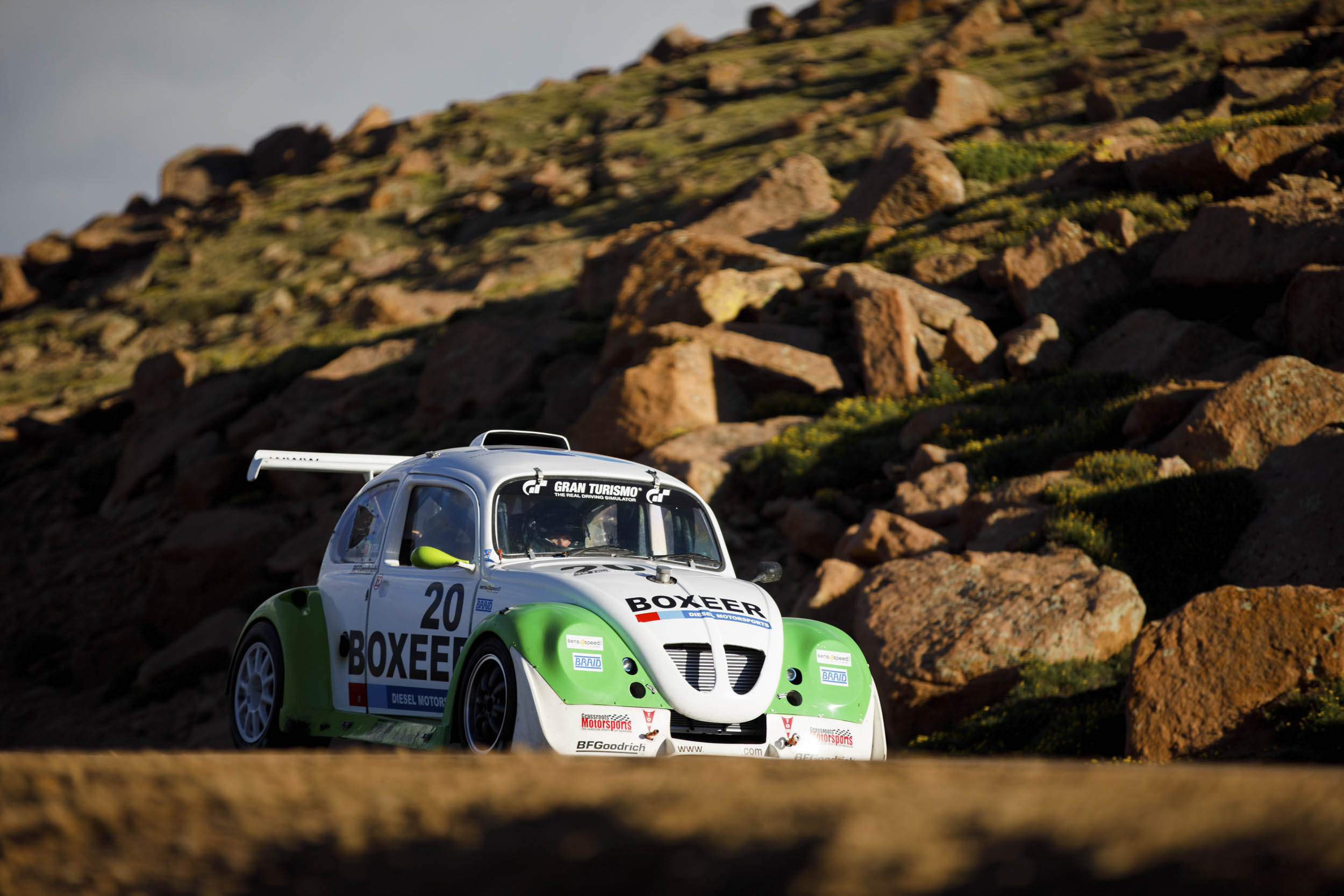Beetle driving up a mountain