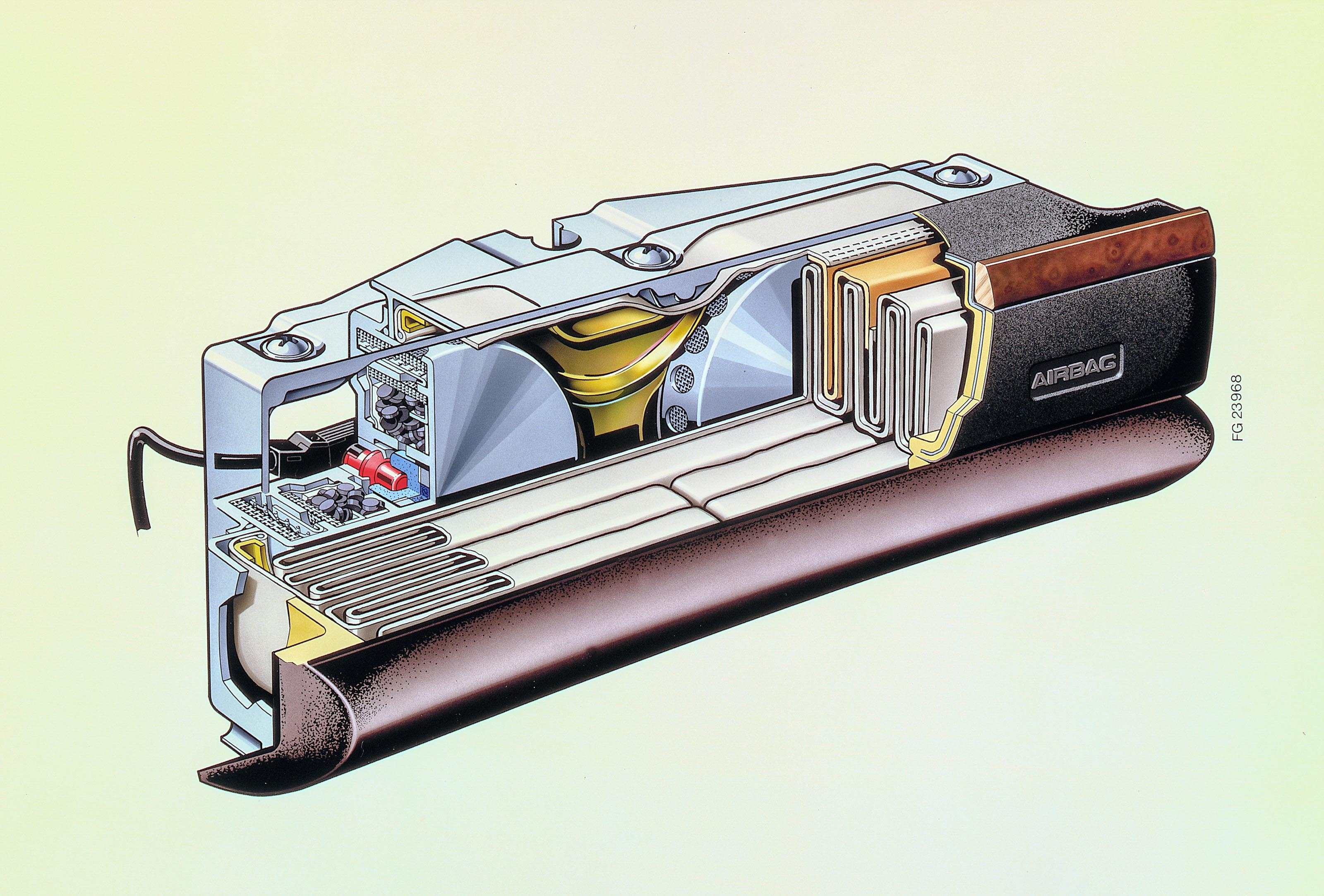 Sectional drawing of the 1981 Mercedes-Benz S-Class W126 front passenger airbag module that shows the folded airbag and dual gas generators filled with pelletized solid propellant.