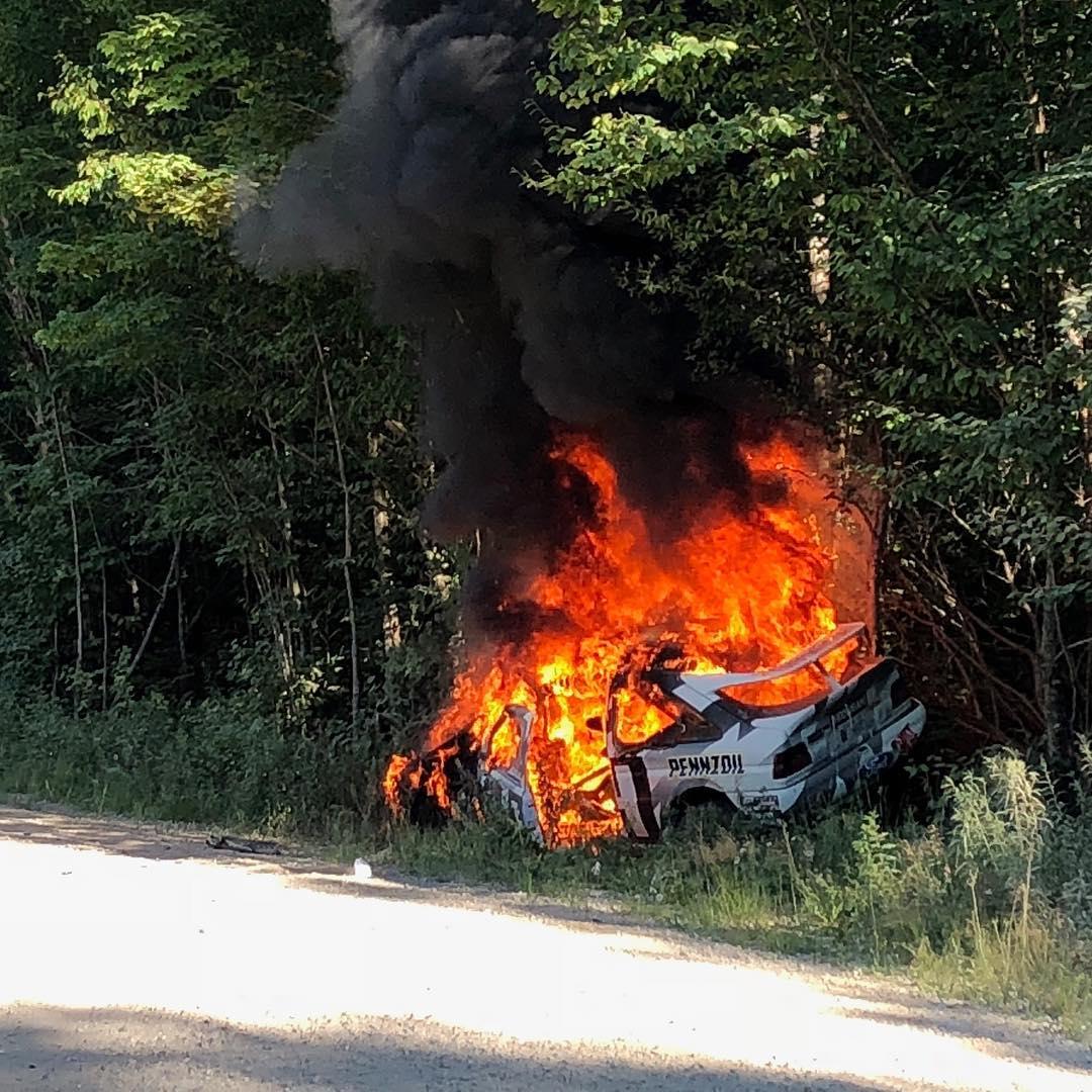 Ken Block Ford Escort Fire crash