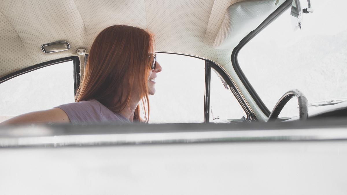 Catherine Sutton in her 1964 Porsche 356