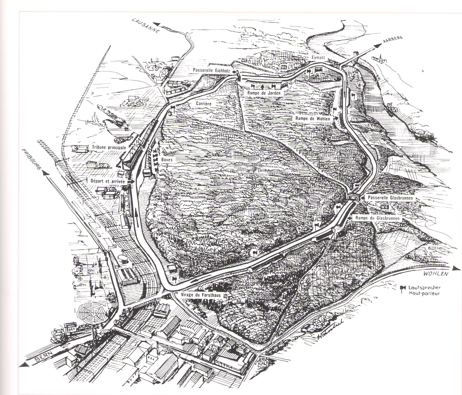 Aerial view of the Grand Prix course from the 1934-1955 reportage