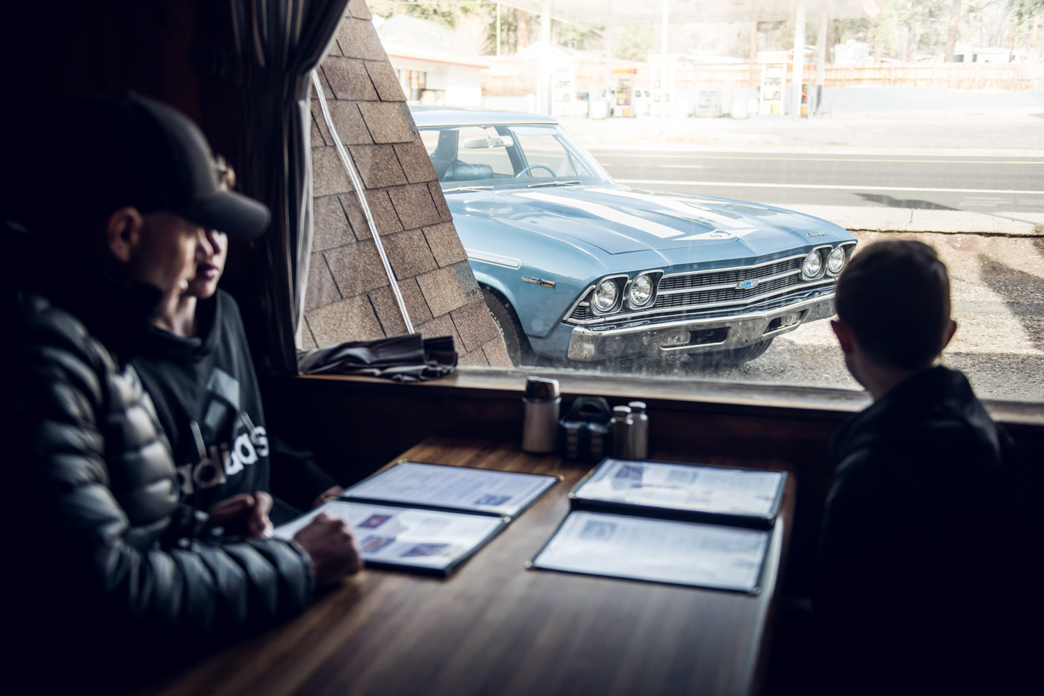 The road trippers in Mary's Café, an Arizona restaurant featured in the 1971 film Two Lane Blacktop. It's one of the few little-changed diners along Route 66.