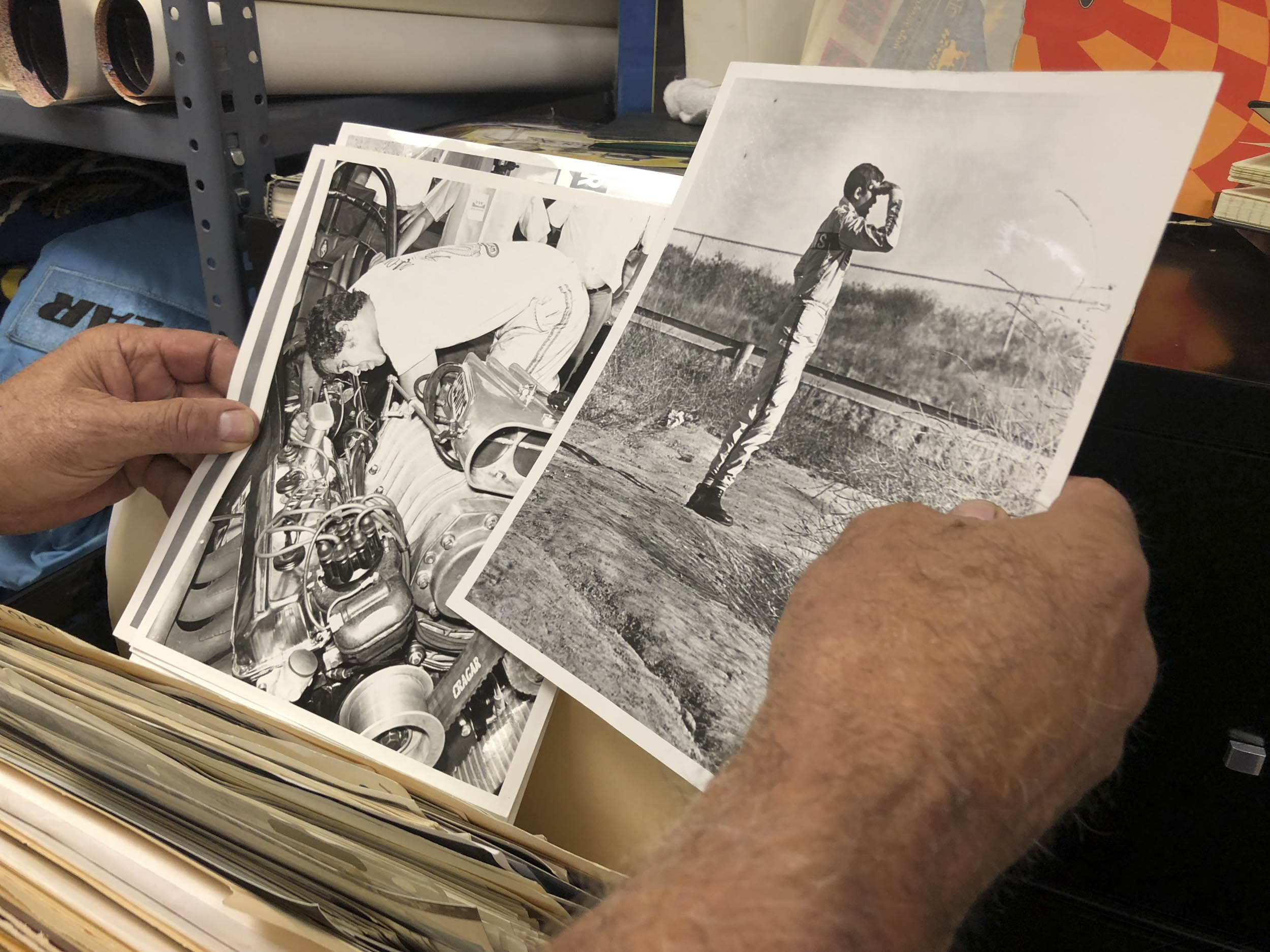 We got a glimpse into Prudhomme's personal collection for this story. He pulled out press clippings and family snapshots from more than 50 years and countless quartermiles.