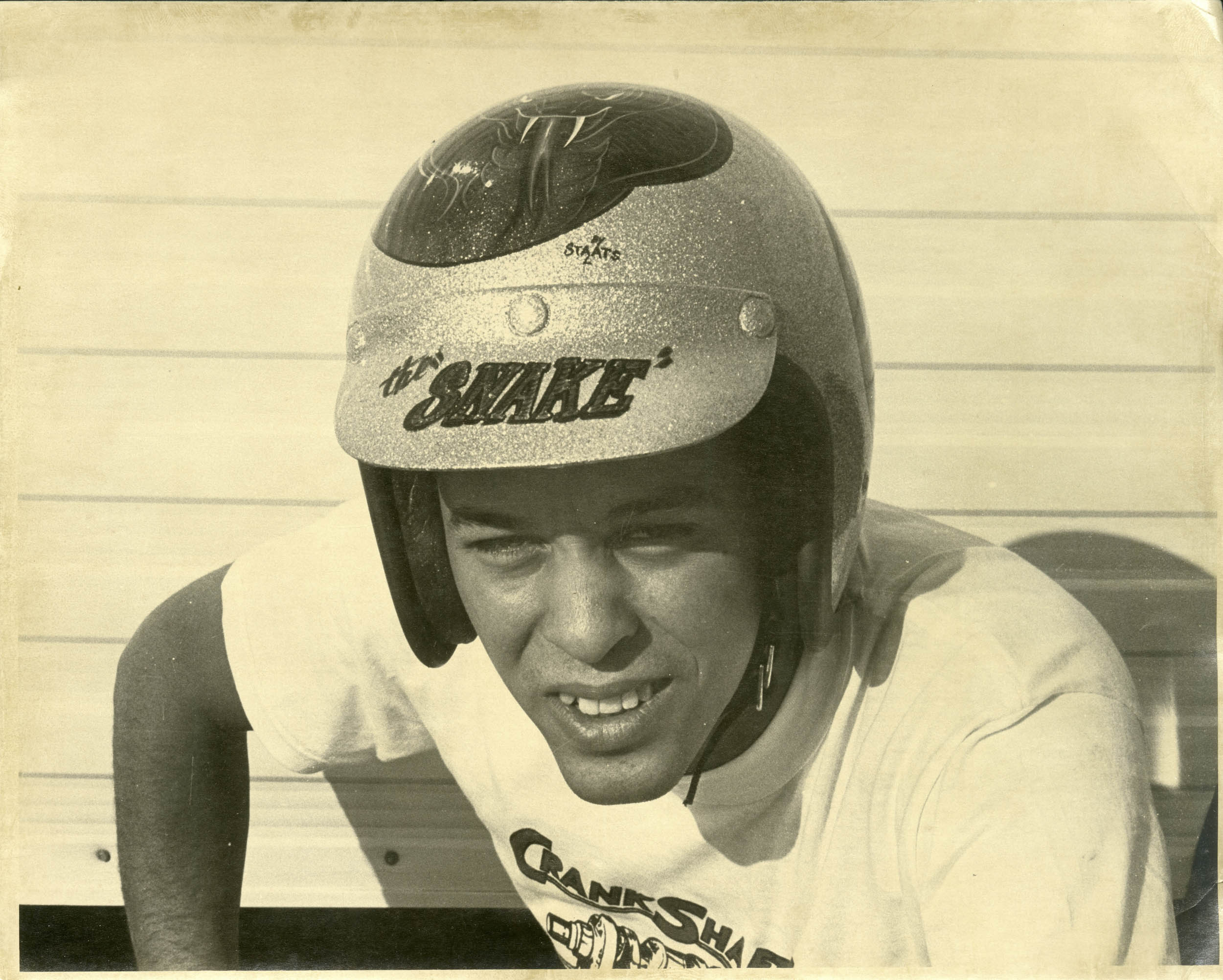 """""""Oh, man, look at my missing tooth. When I finally made money, I got my teeth fixed,"""" says Prudhomme of this shot. """"This is probably 1962, right after I got the Snake nickname. Before that my helmet just said 'Don.' """""""
