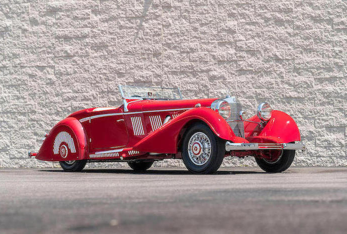 1937 Mercedes-Benz 540K Sports Roadster red front 3/4
