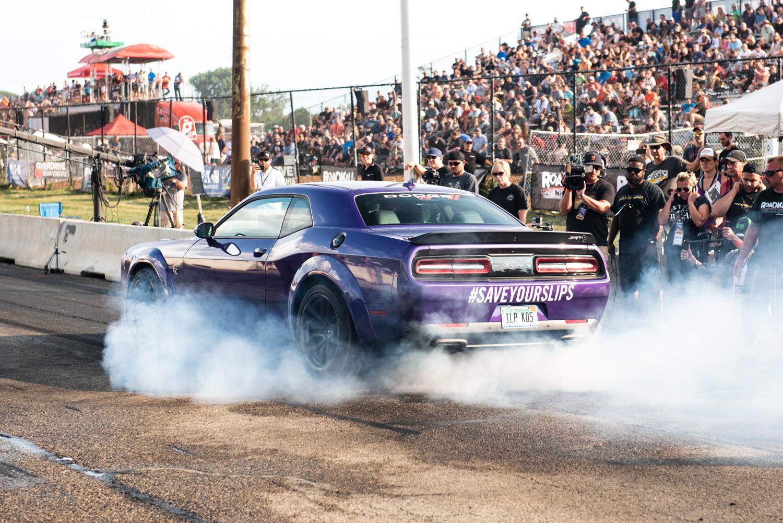 Roadkill Nights 2018 purple hellcat burnout