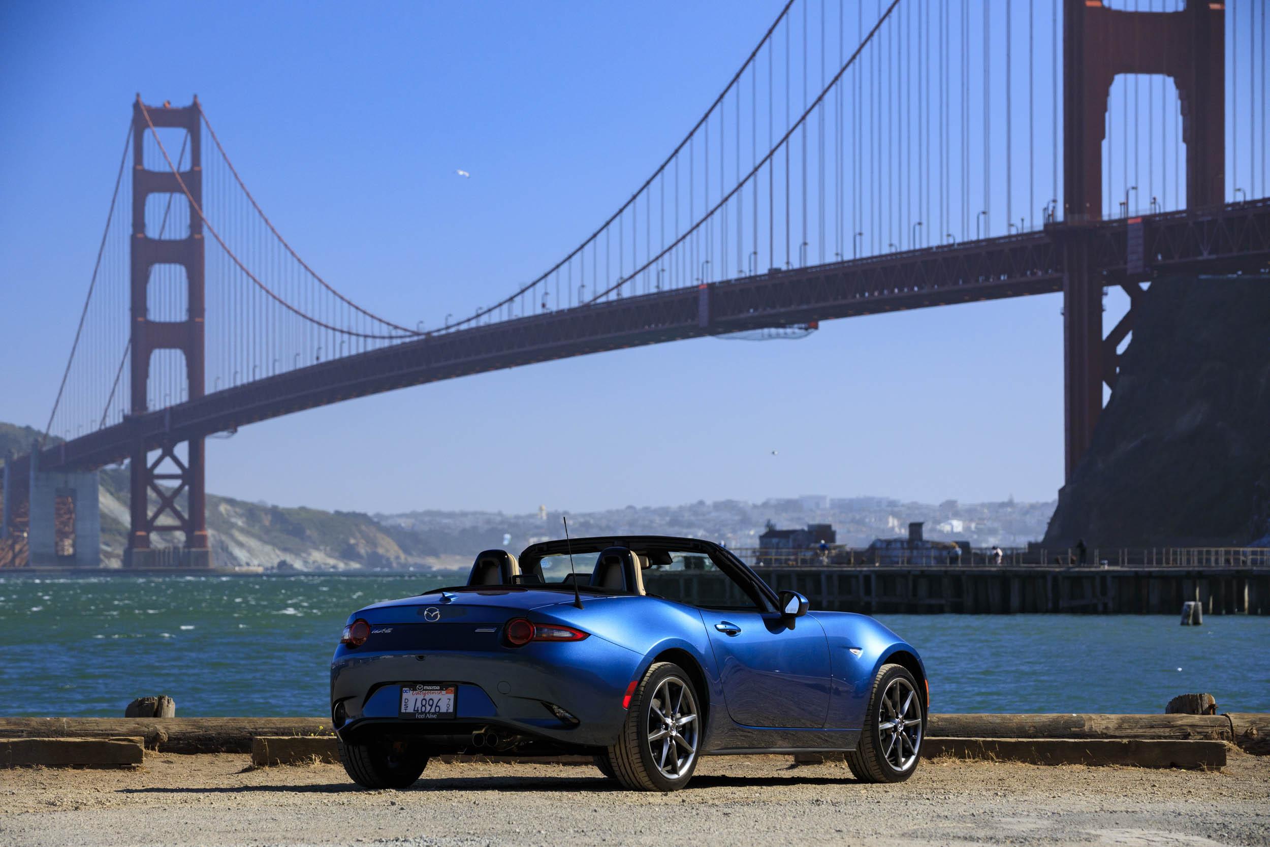 2019 Mazda MX-5 Miata Roadster rear 3/4 by the Golden Gate bridge