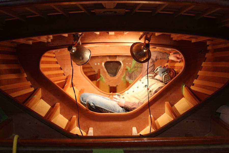 Van Dam Custom Boats finishing inside boat