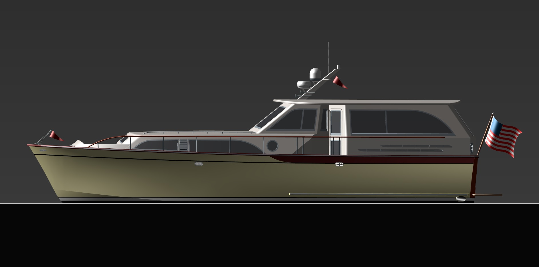 Van Dam Custom Boats sunray rendering