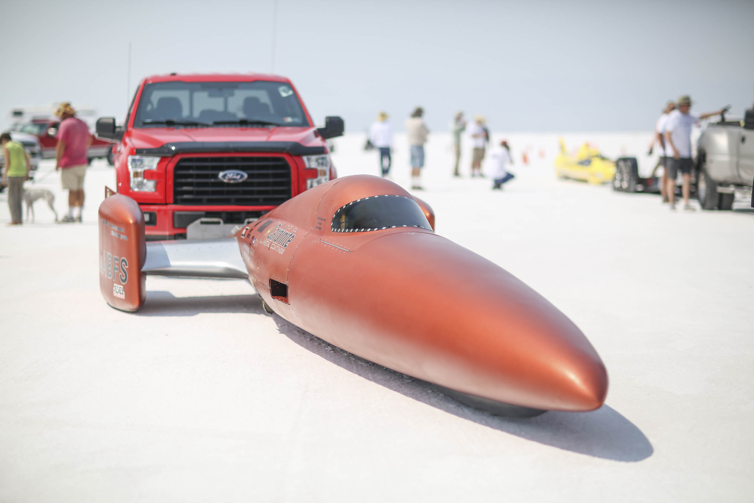 The Carbinite streamliner was one of four fuel streamliners to run in excess of 400 mph at Speed Week 2018, a first for the event as far as we can tell.