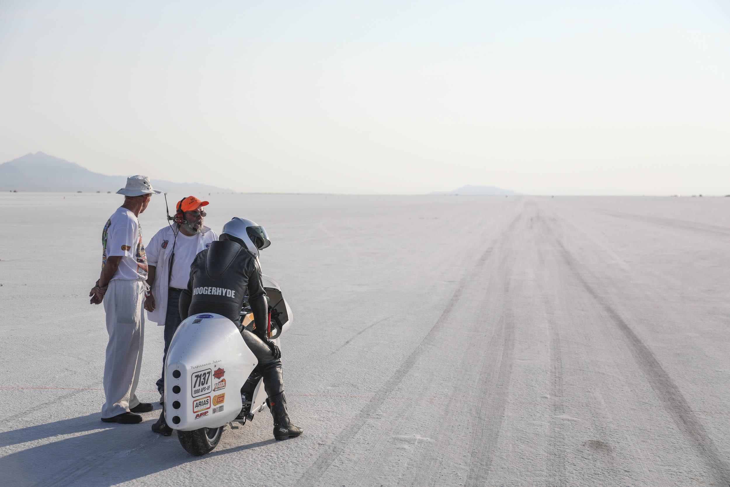 Motorcycle at Bonneville Salt Flats Speed Week