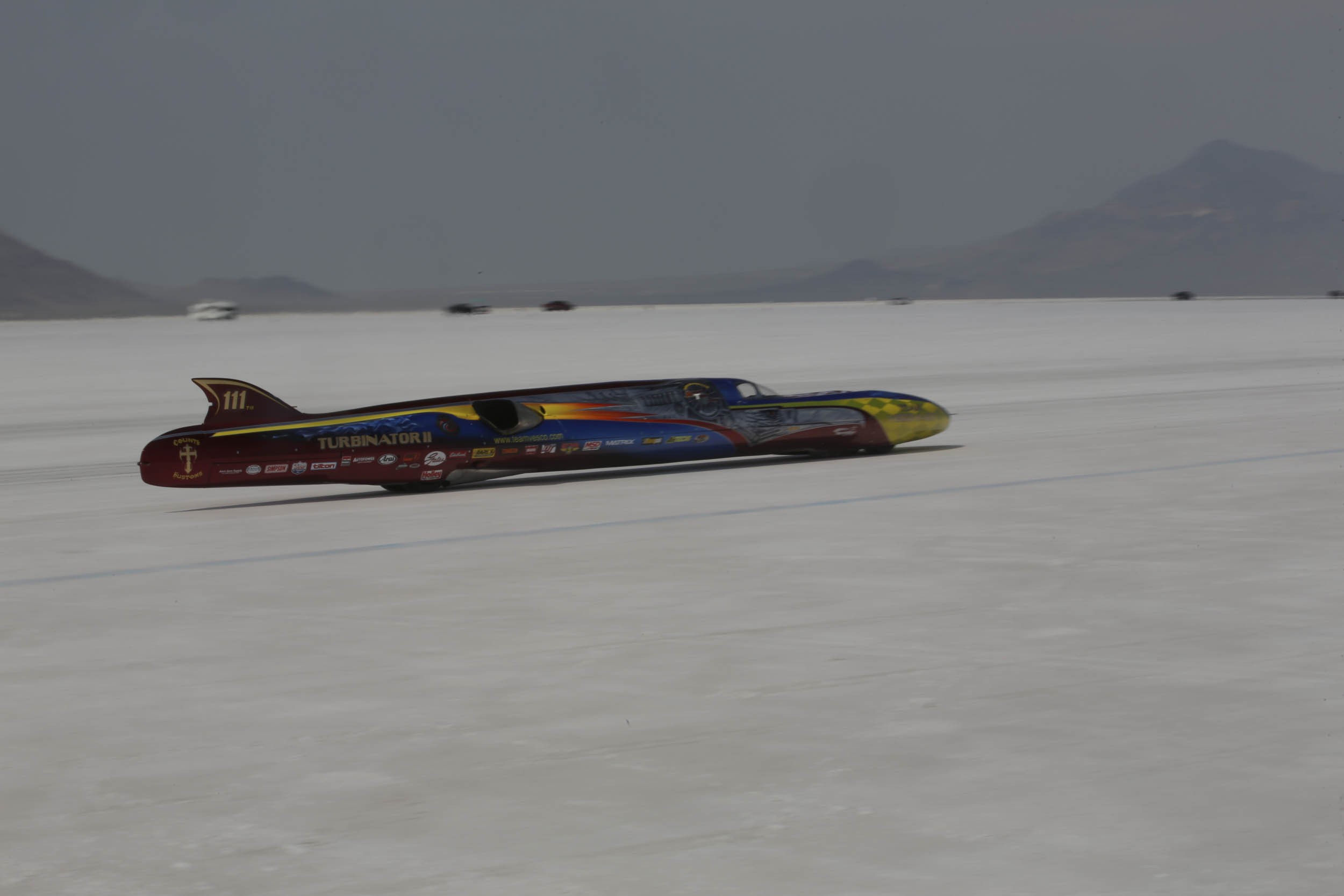 Team Vesco's Turbinator II streamliner had the fastest time of Speed Week as of Friday morning, but the Speed Demon team won't give up.