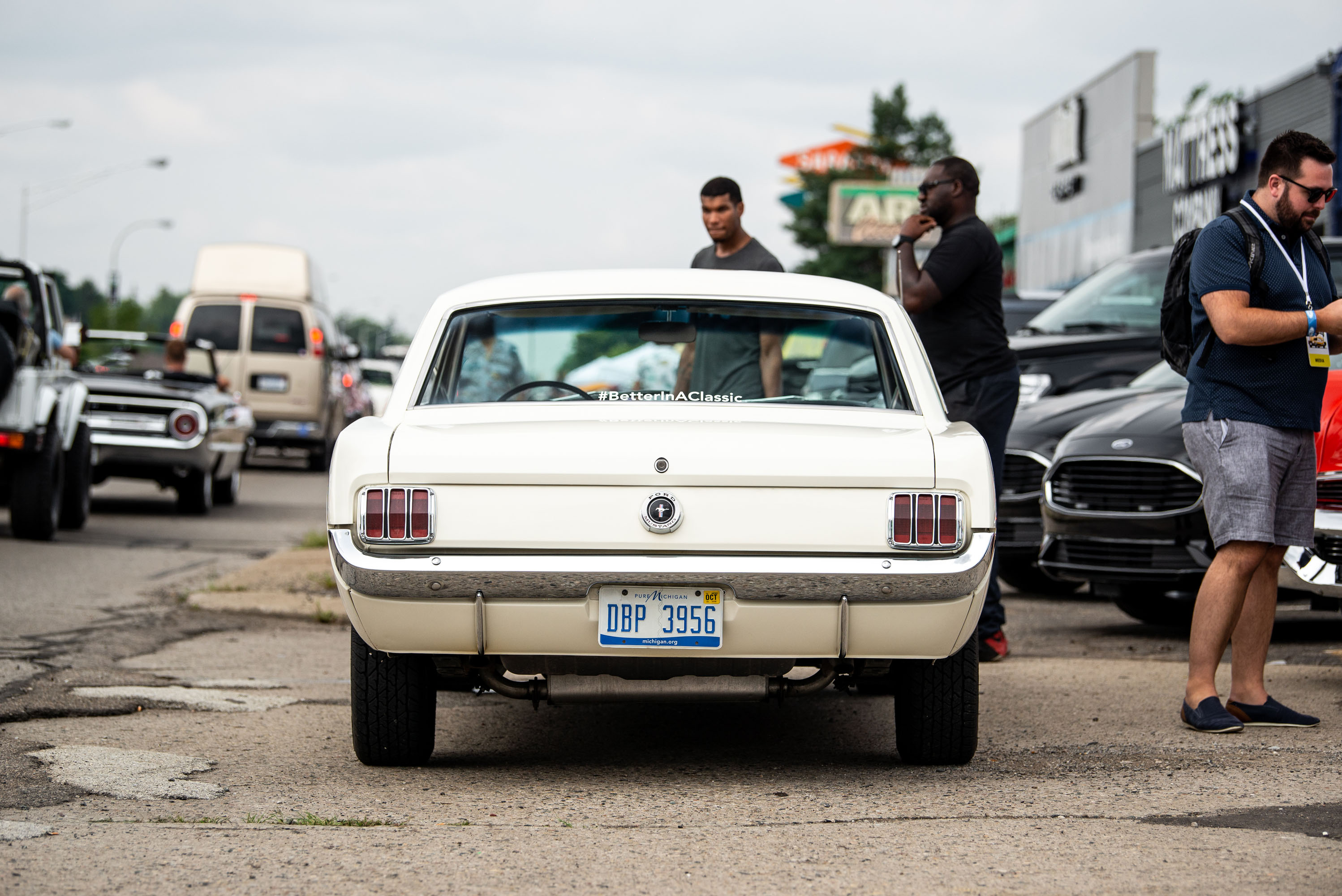woodward dream cruise 65 mustang rear white