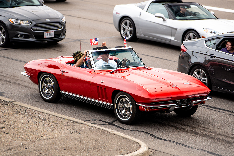 woodward dream cruise C2 corvette convertible red