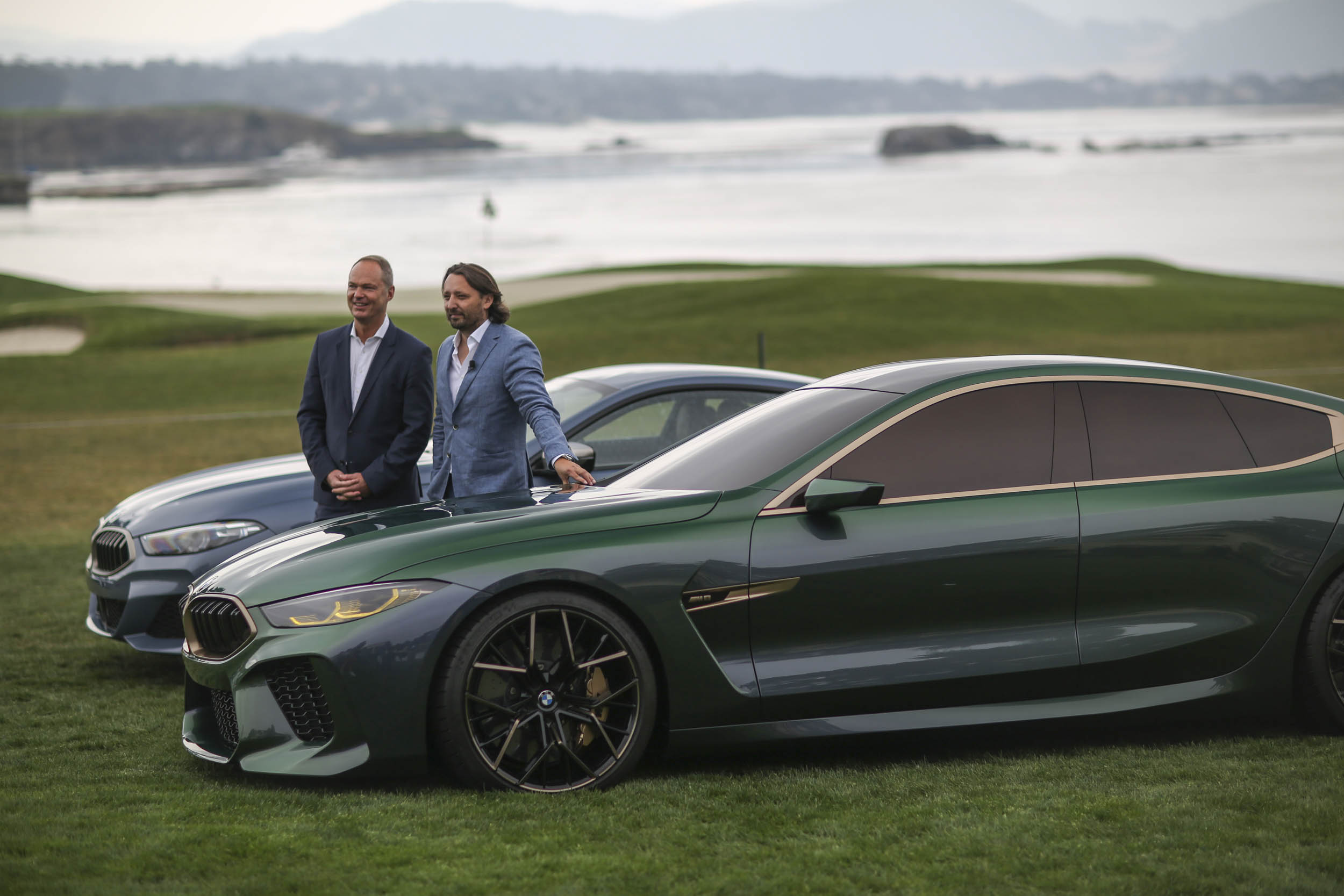 BMW M8 Gran Coupe on the lawn of pebble beach