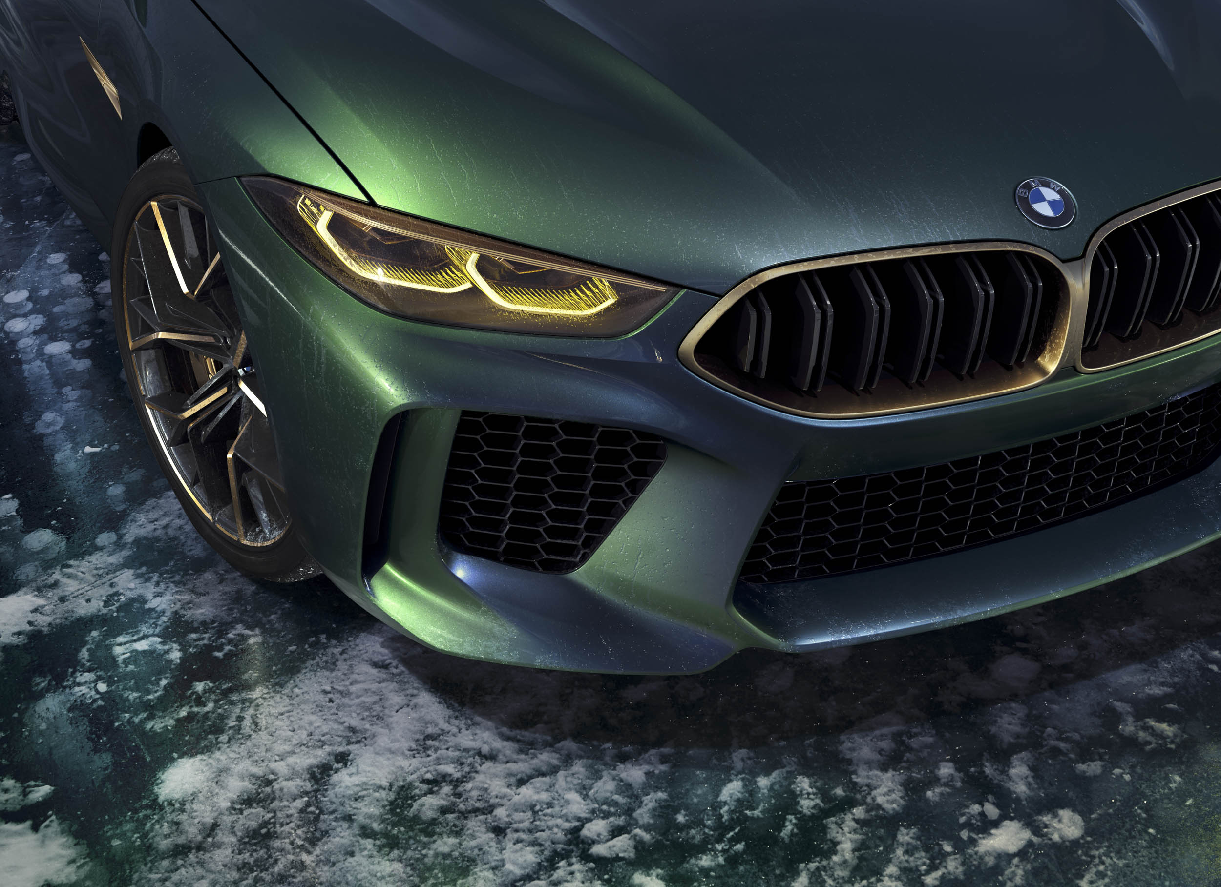 BMW M8 Gran Coupe grille and headlight detail