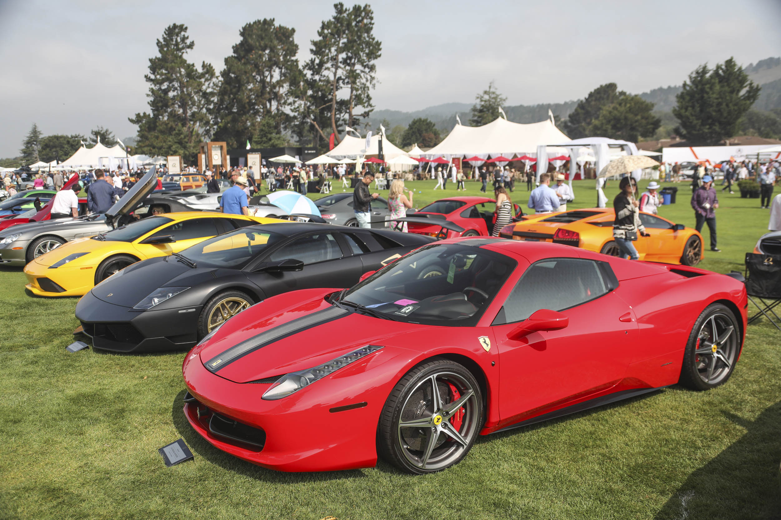 exotic Ferrari and Lamborghinis at The Quail