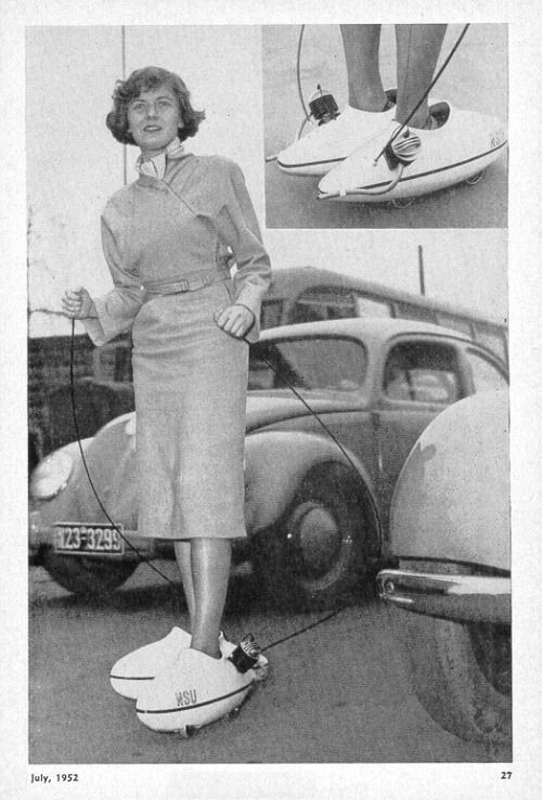 In a photo published in an unknown magazine in July 1952, a woman tries out motorized skates produced by Germany's NSU Motorcycles