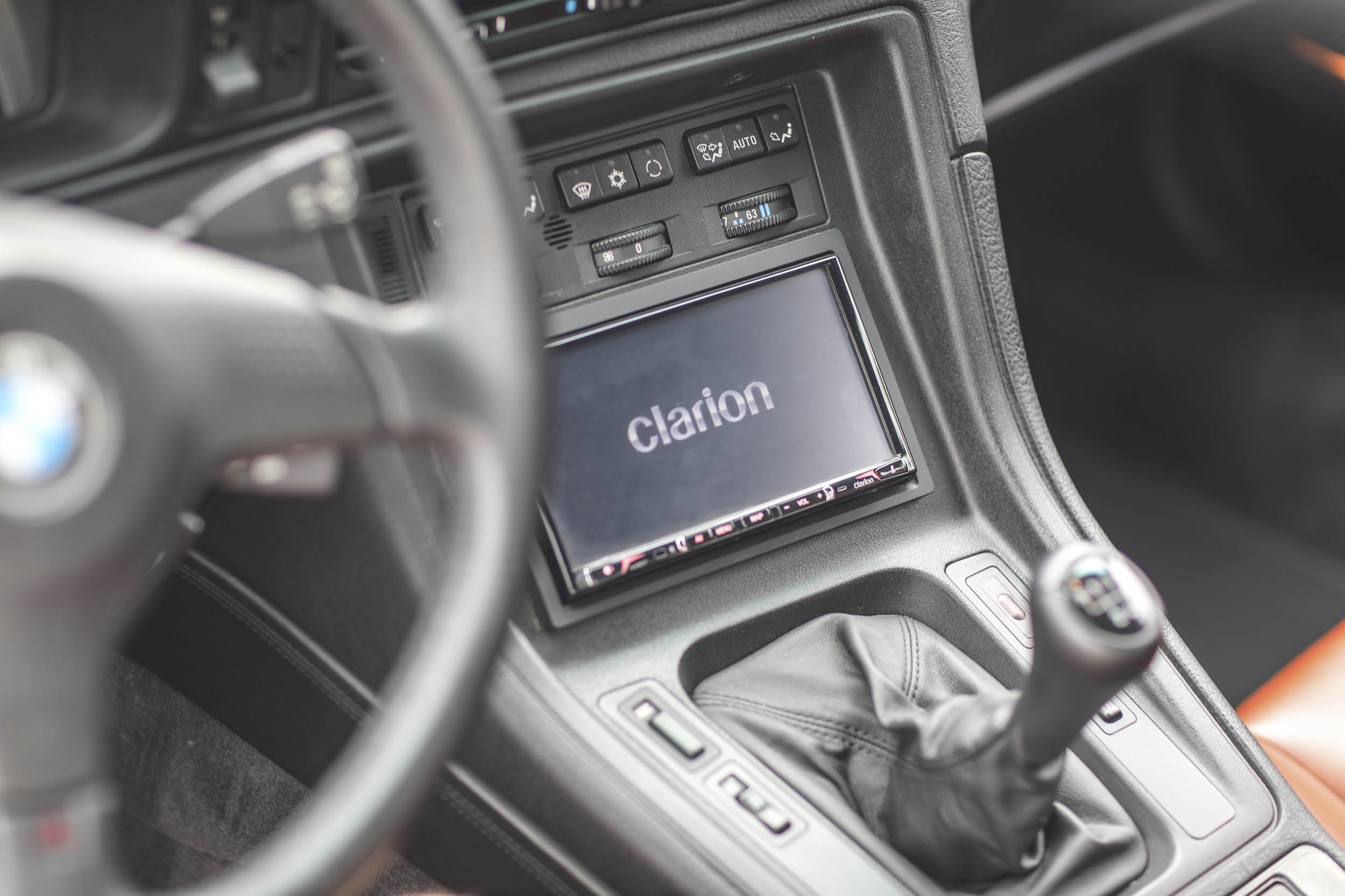 1993 BMW 850Ci shifter knob and Clarion radio