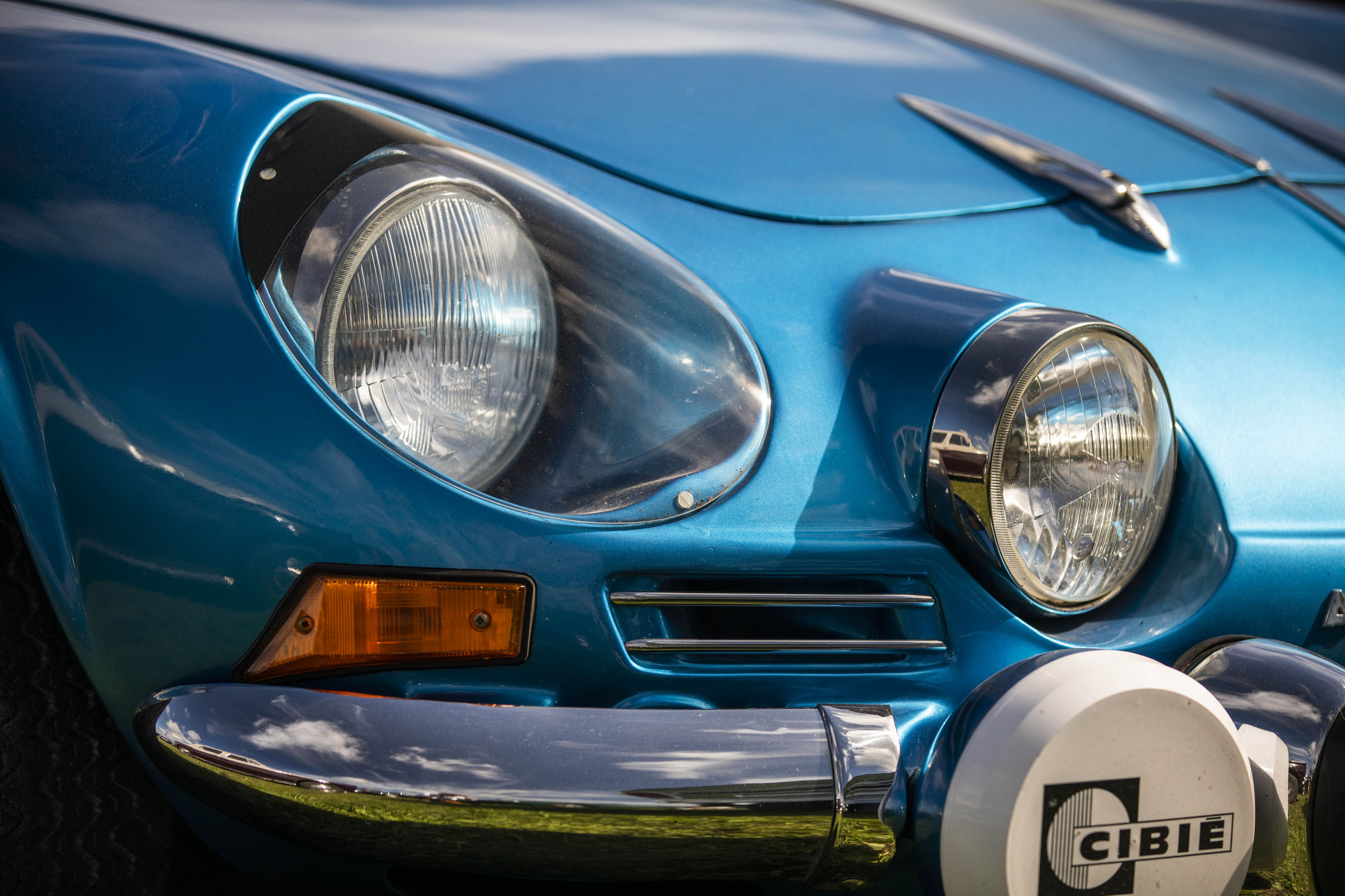 old Renault Alpine A110 headlight detail