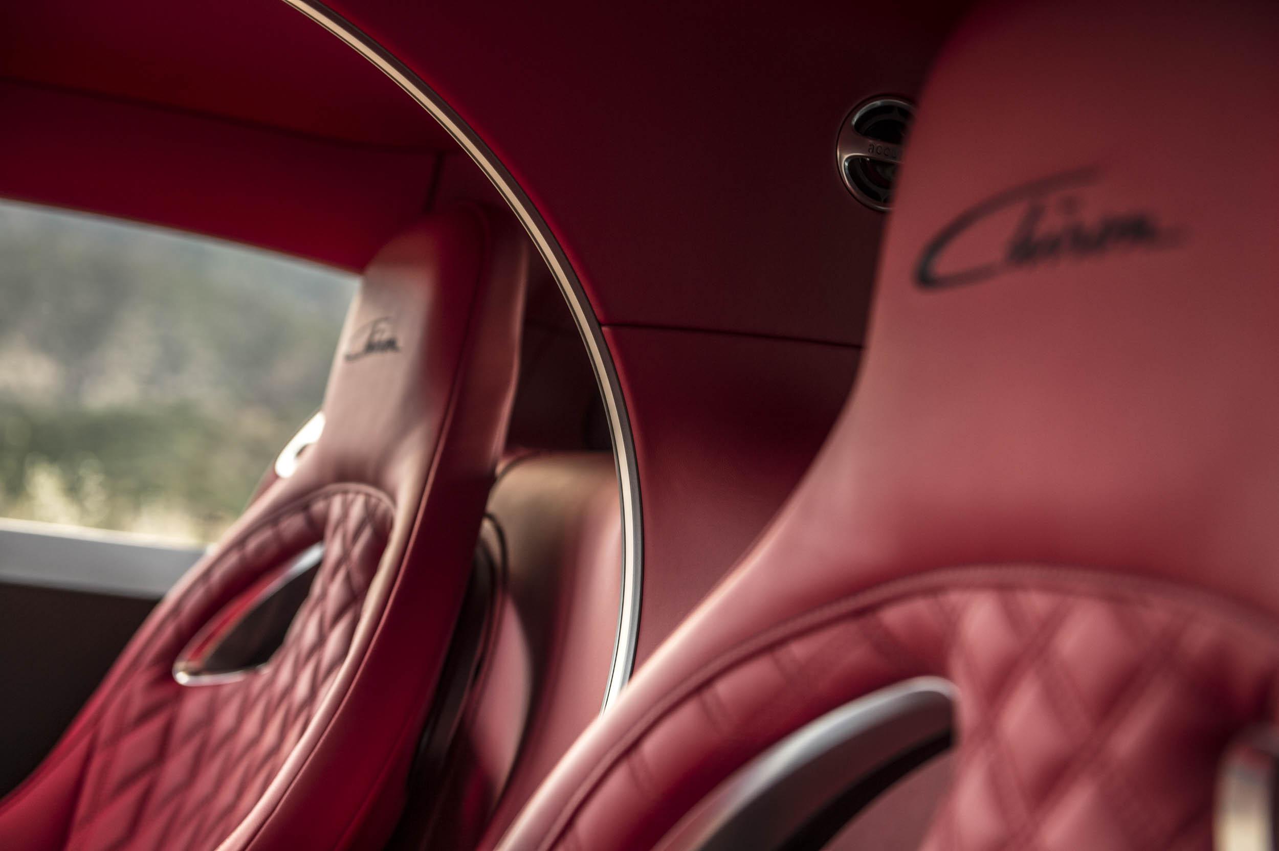 2018 Bugatti Chiron seat detail