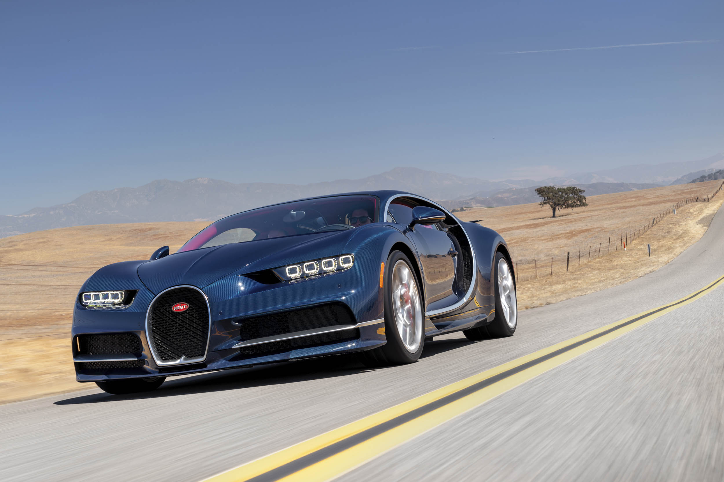 blue 2018 Bugatti Chiron test drive