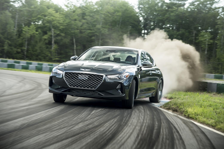 2019 Genesis G70 dust kicked up on track